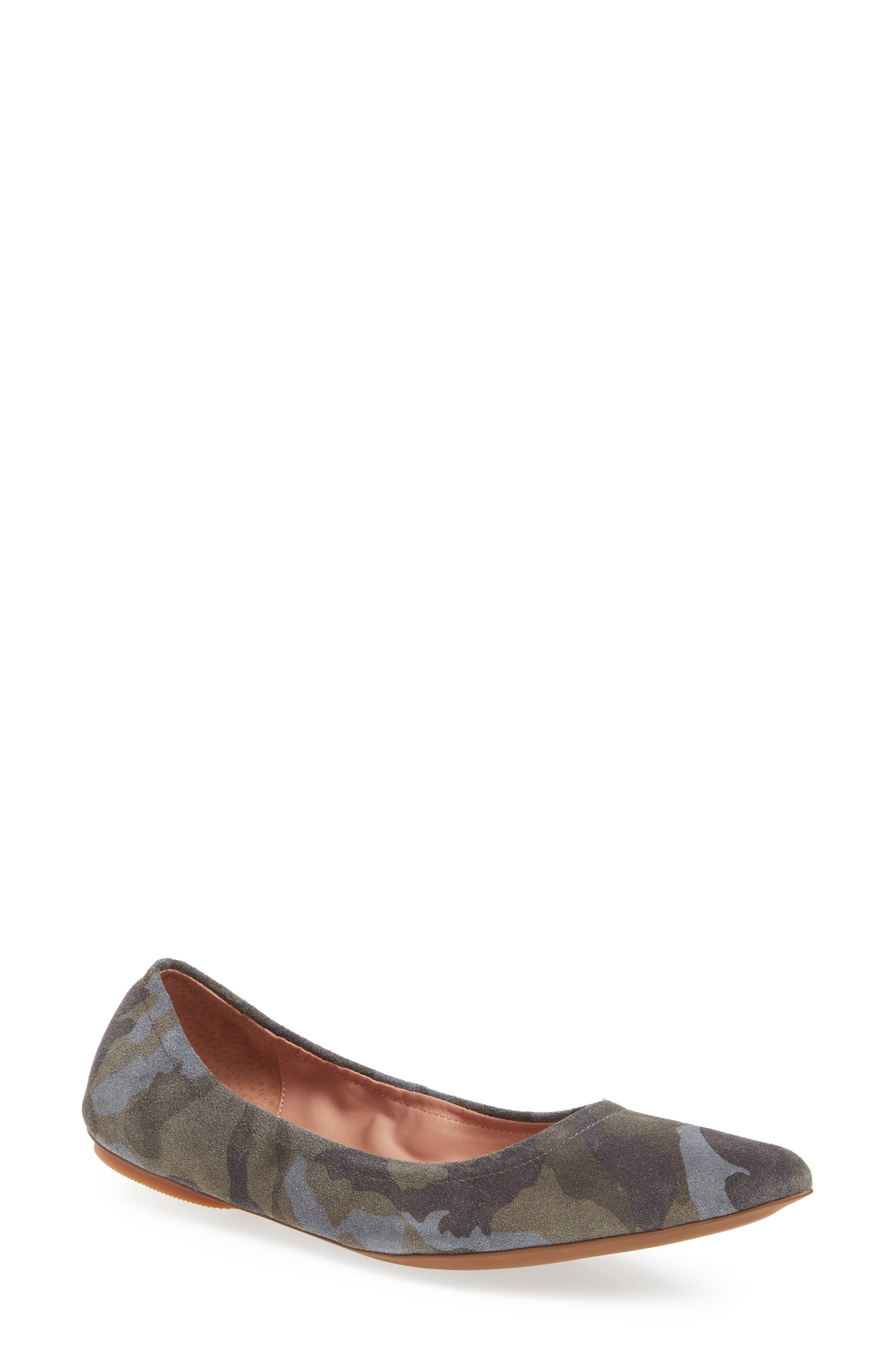 Nico Pointy Toe Flat,                             Main thumbnail 1, color,                             Camouflage Suede