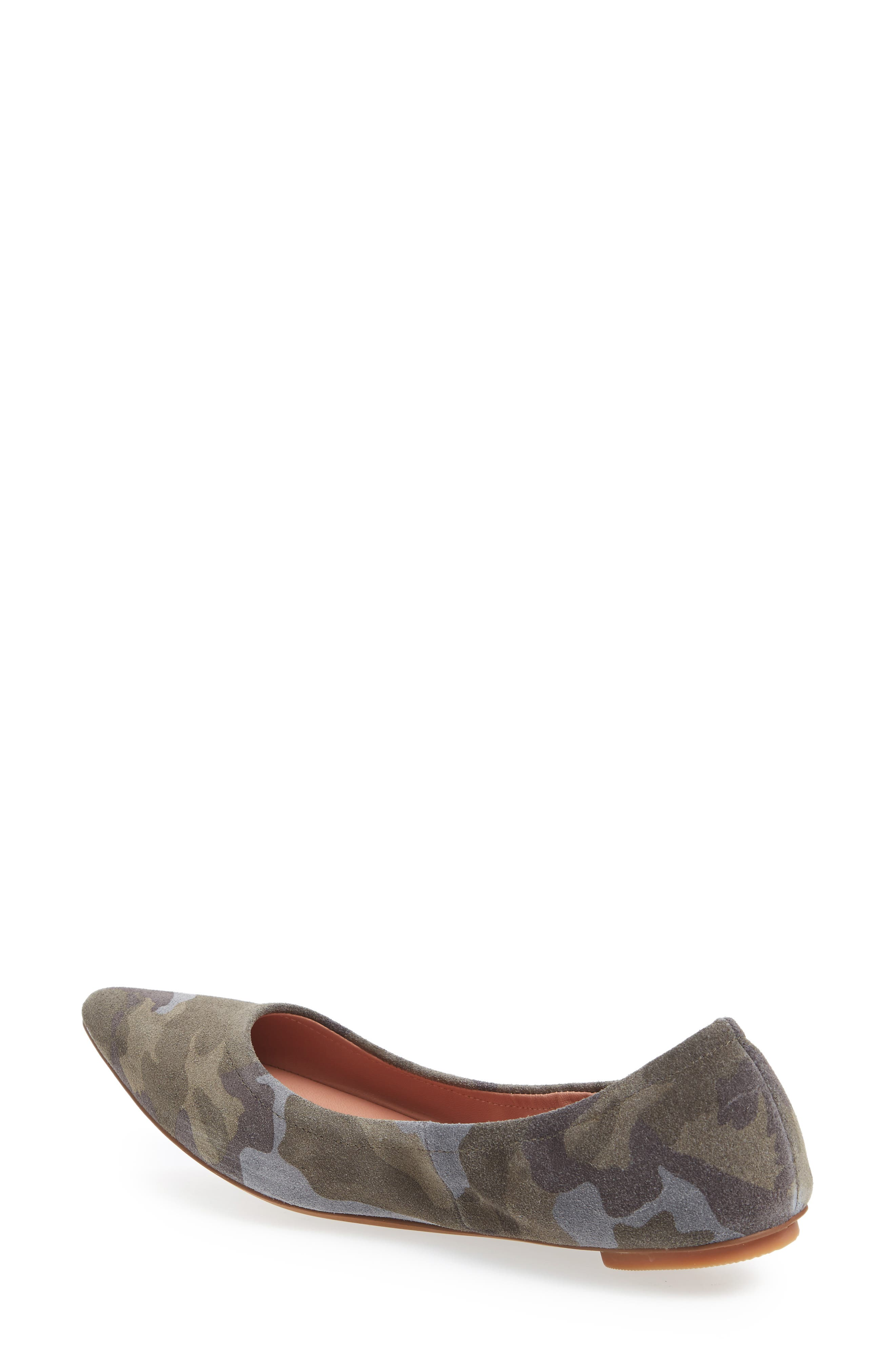 Nico Pointy Toe Flat,                             Alternate thumbnail 2, color,                             Camouflage Suede