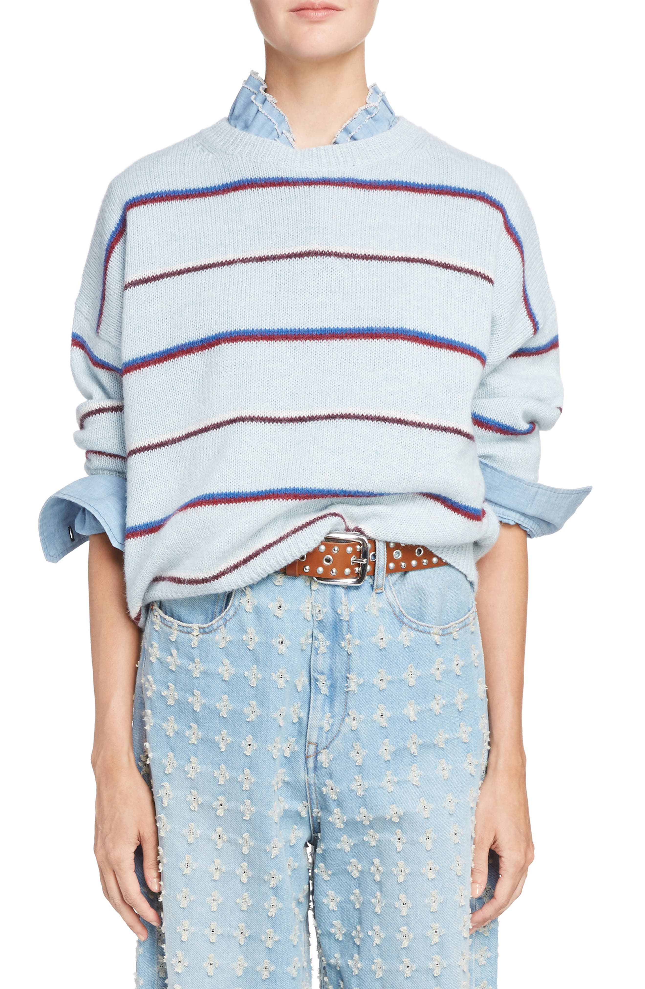 Isabel Marant Étoile Gatlin Stripe Alpaca Blend Sweater,                         Main,                         color, Light Blue