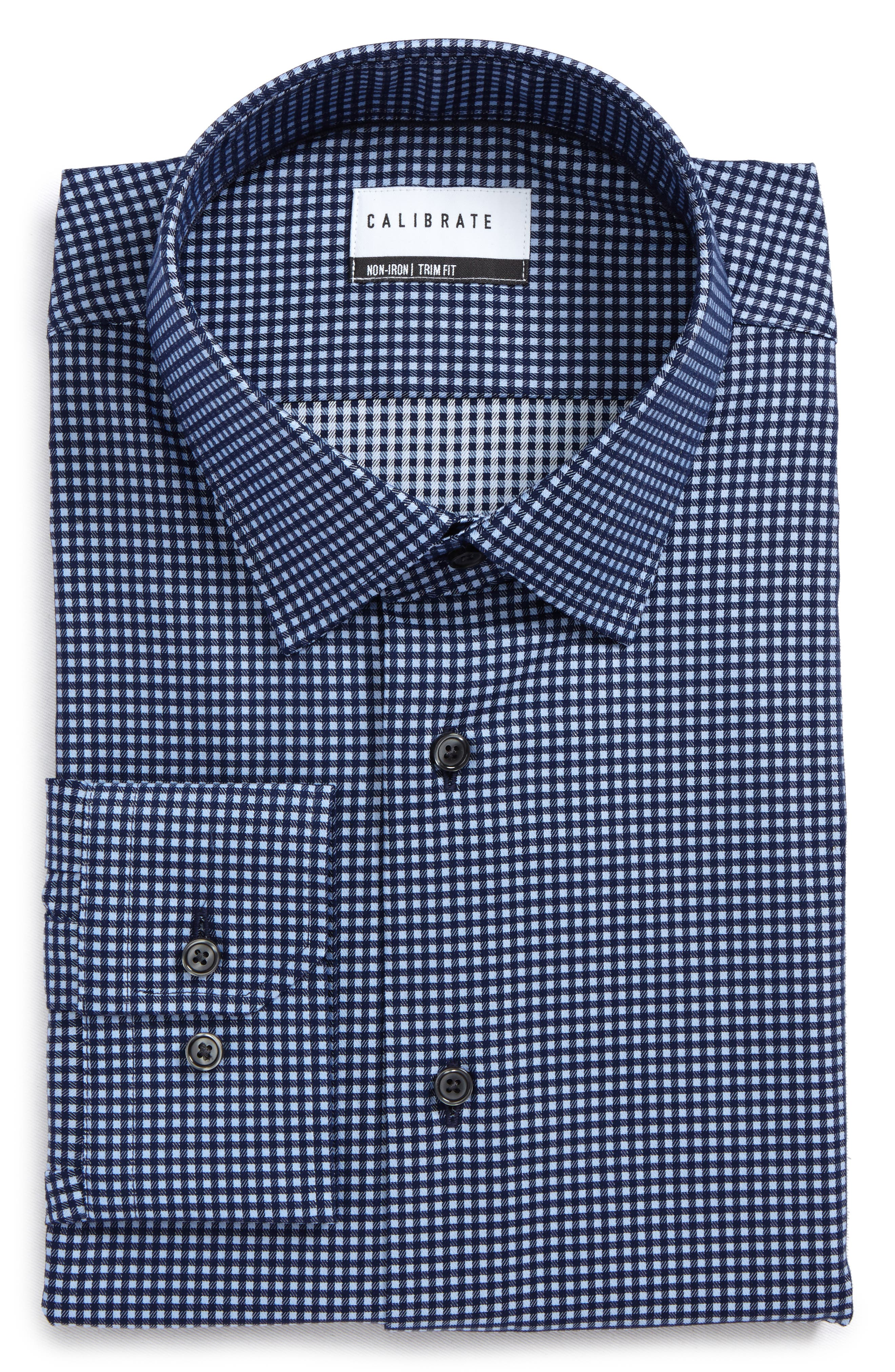 Trim Fit Non-Iron Check Dress Shirt,                         Main,                         color, Navy Medieval