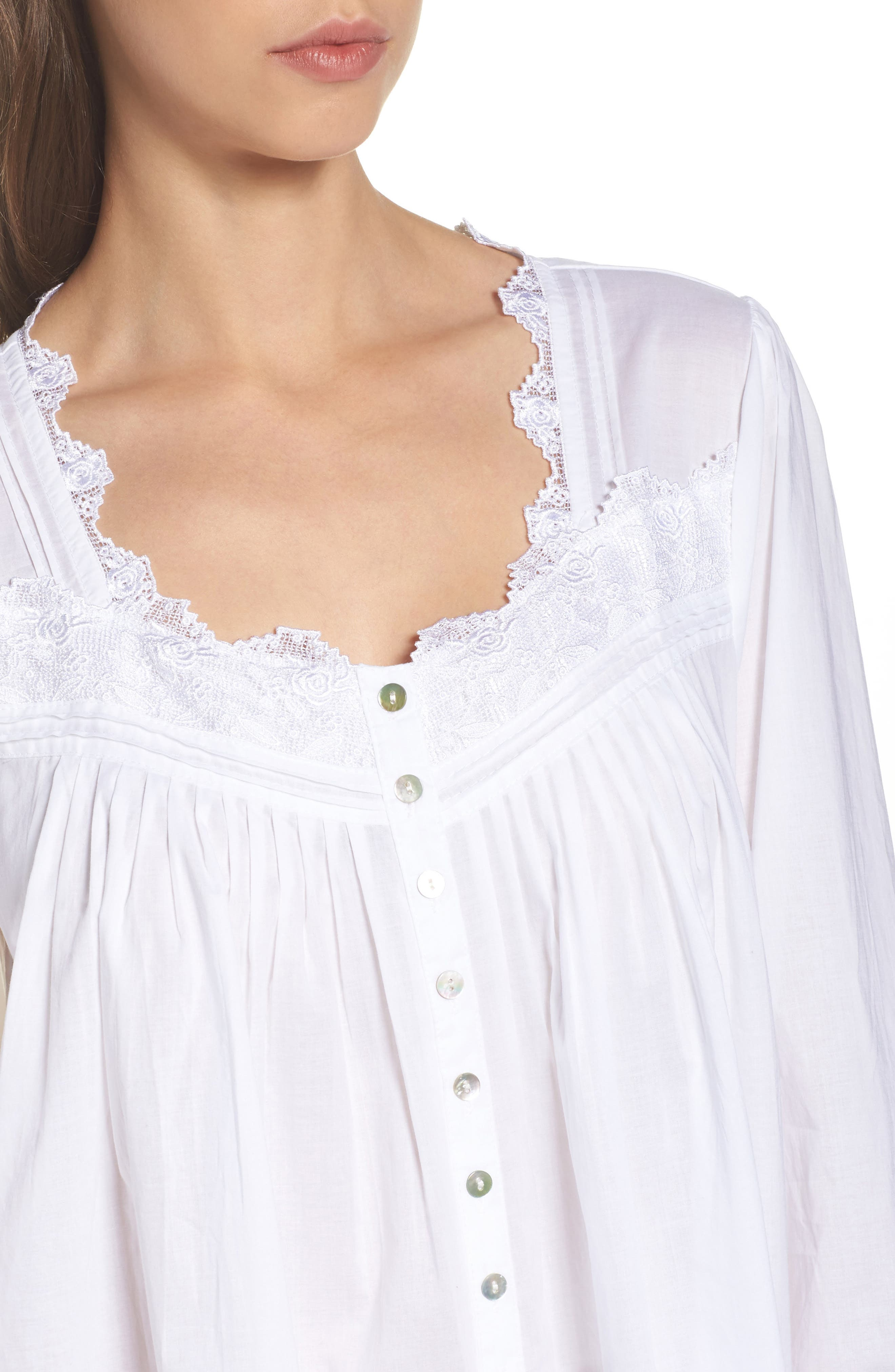 Button Front Cotton Nightgown,                             Alternate thumbnail 5, color,                             Solid White