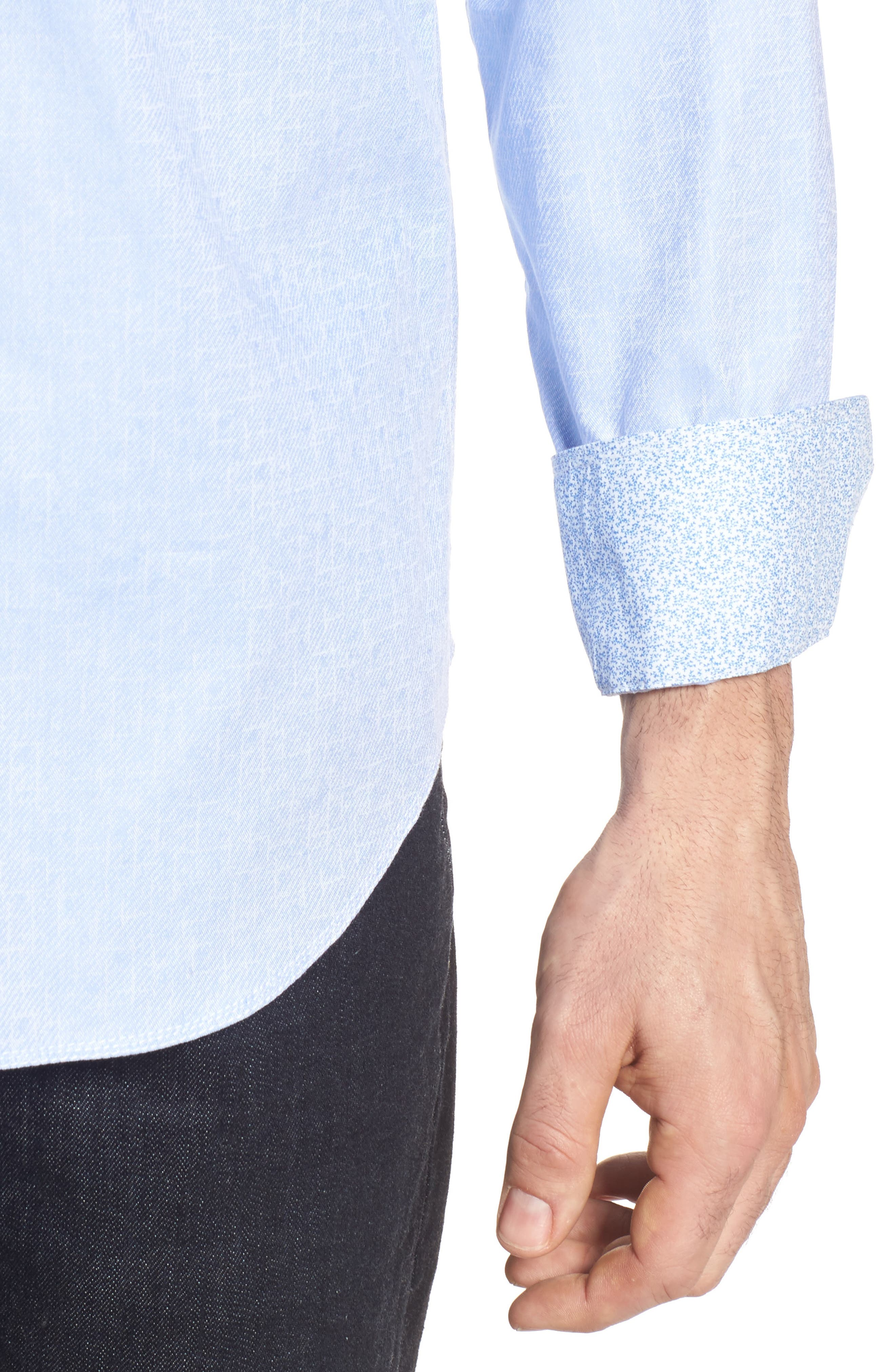 Shaped Fit Sport Shirt,                             Alternate thumbnail 4, color,                             Sky