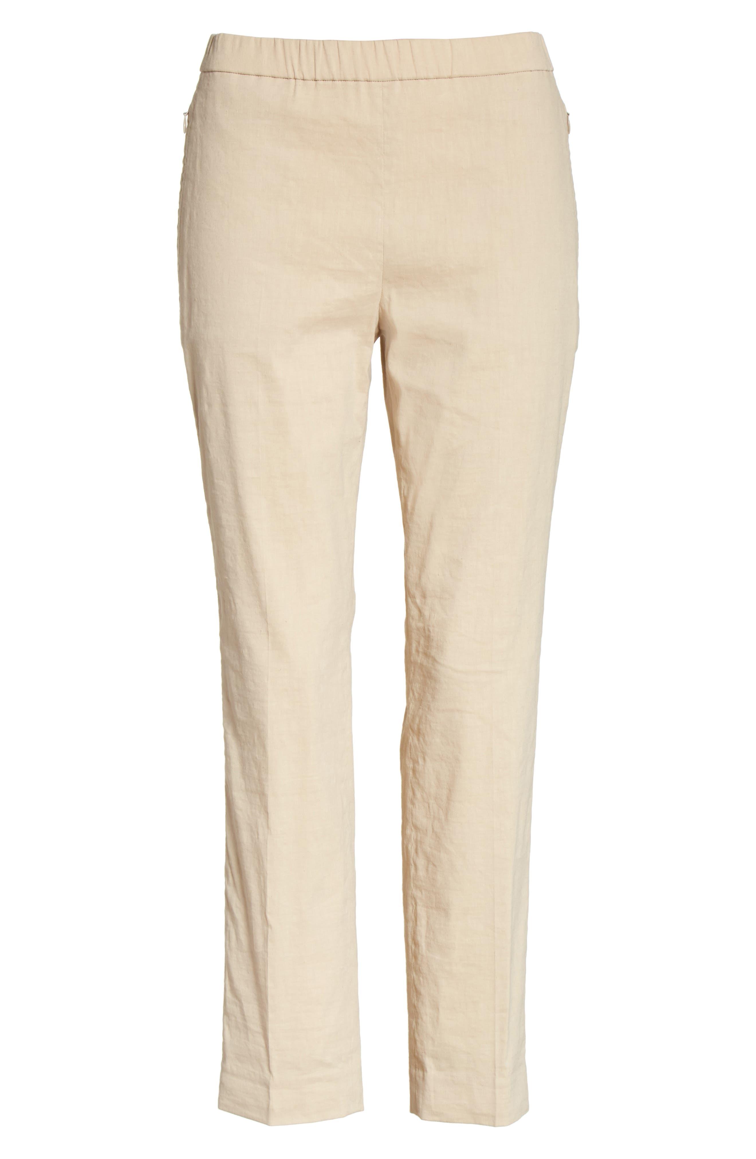 Pull-On Linen Blend Pants,                             Alternate thumbnail 3, color,                             Light Wheat