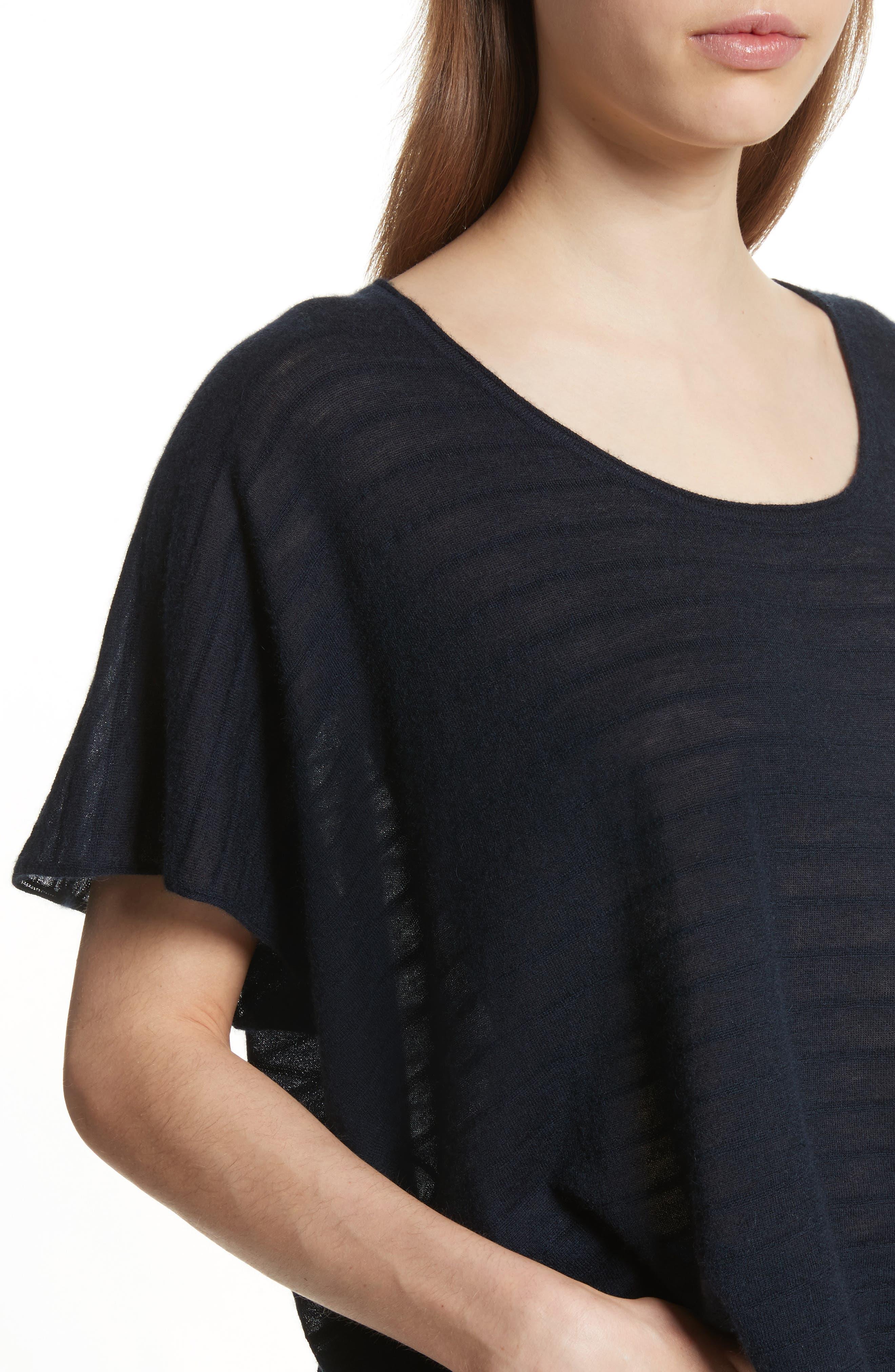 Textured Stripe Wool & Cashmere Tee,                             Alternate thumbnail 4, color,                             Coastal