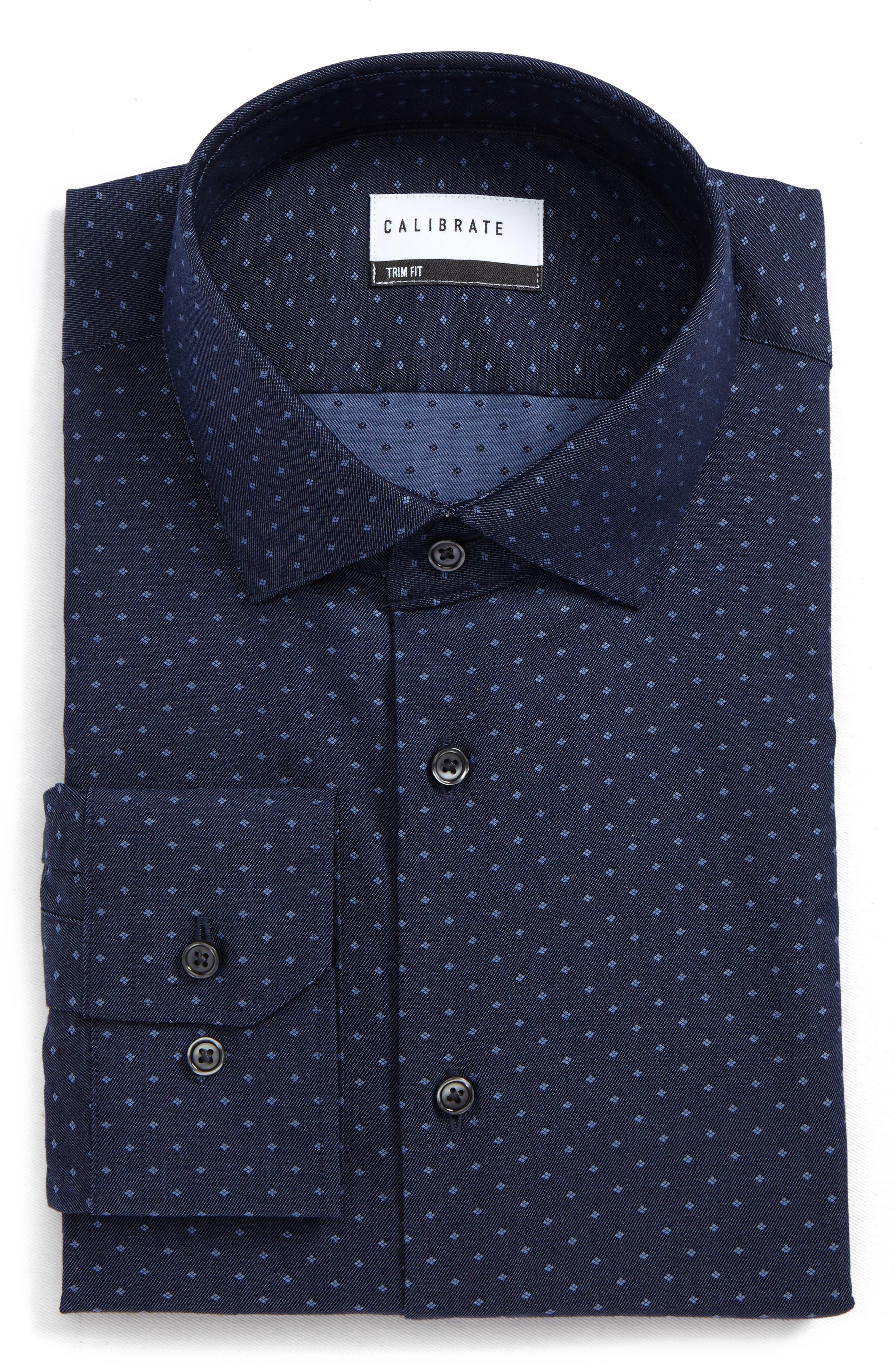 Main Image - Calibrate Trim Fit Jacquard Dress Shirt