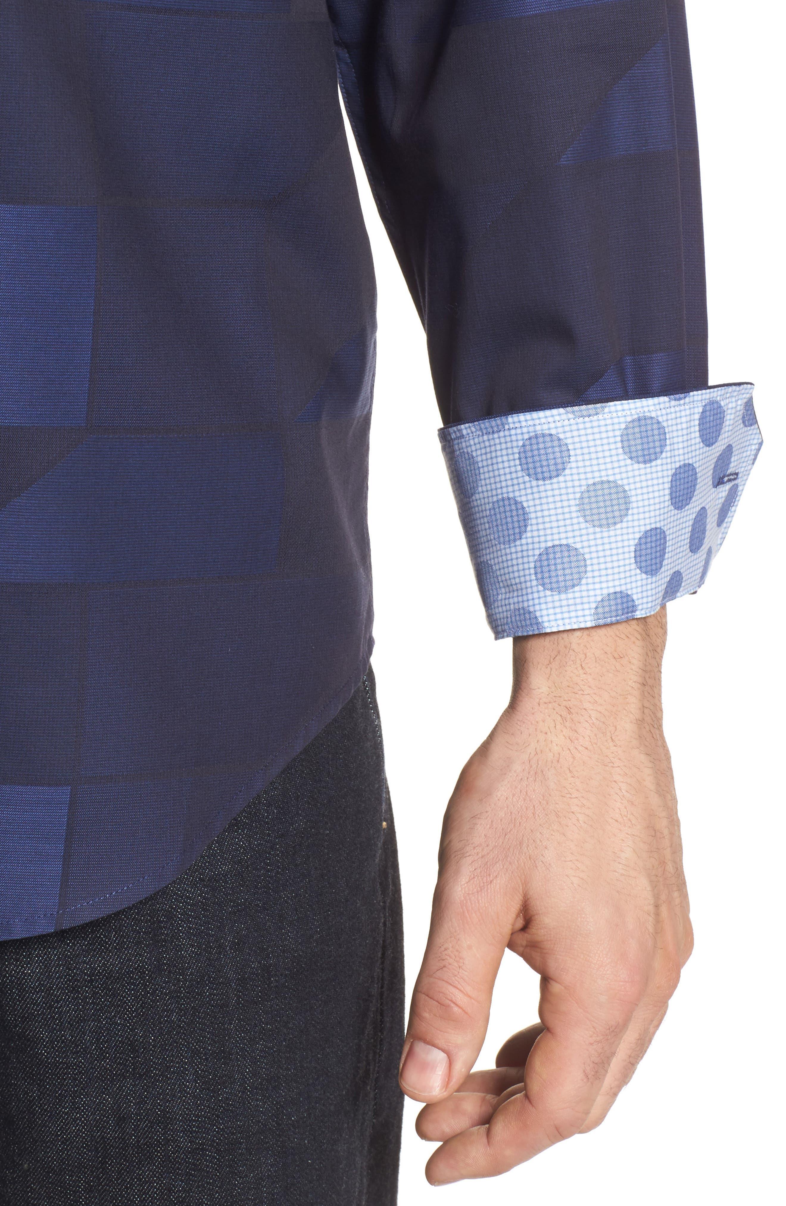 Classic Fit Print Sport Shirt,                             Alternate thumbnail 4, color,                             Night Blue