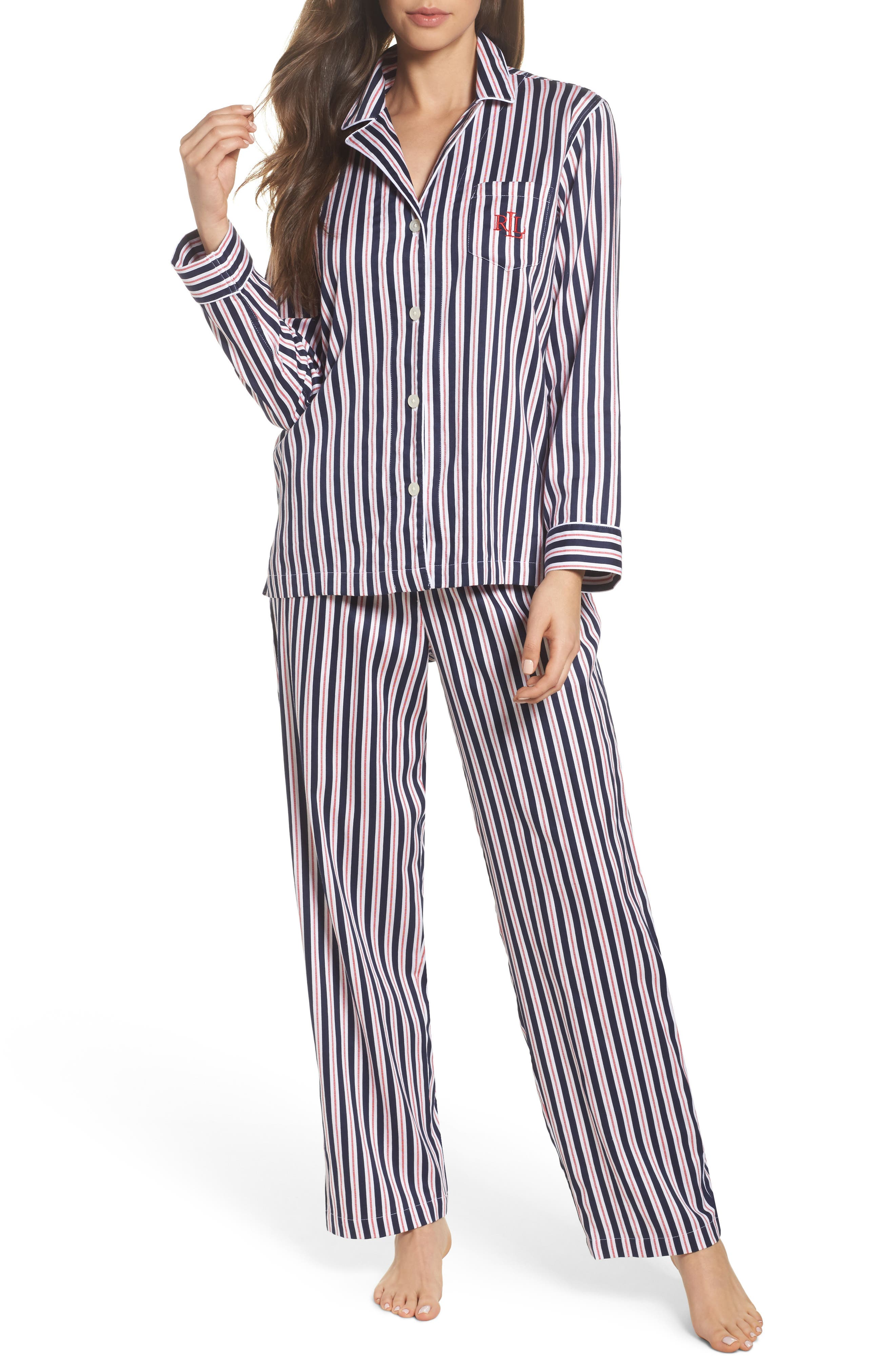 Sateen Pajamas,                             Main thumbnail 1, color,                             Navy Stripe
