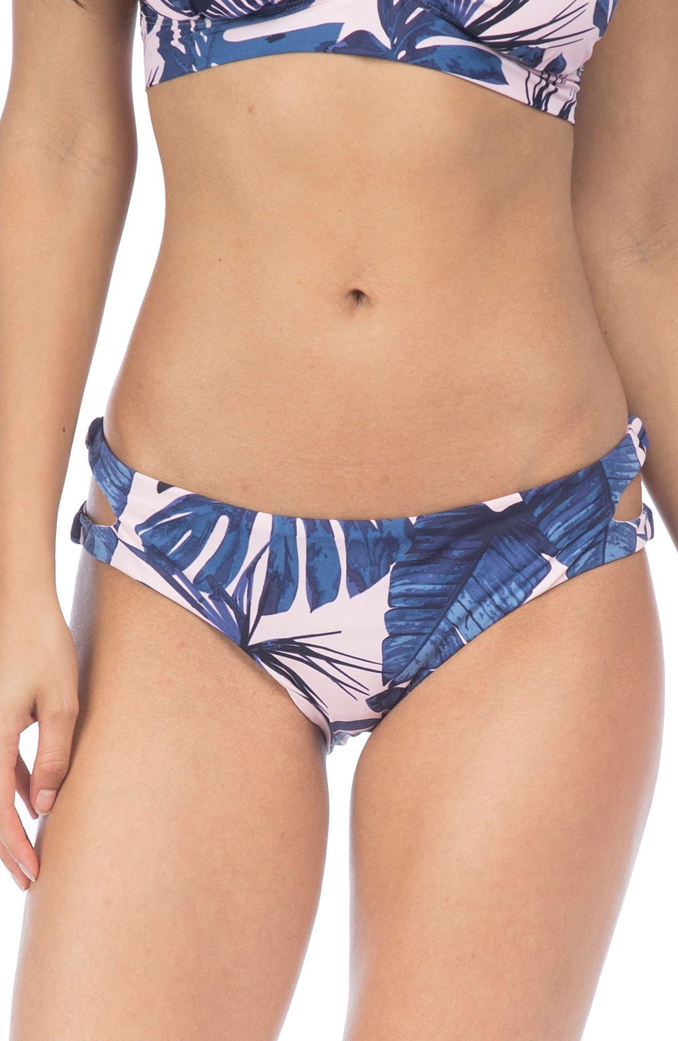Fronds Bikini Bottoms,                         Main,                         color, Light Pink