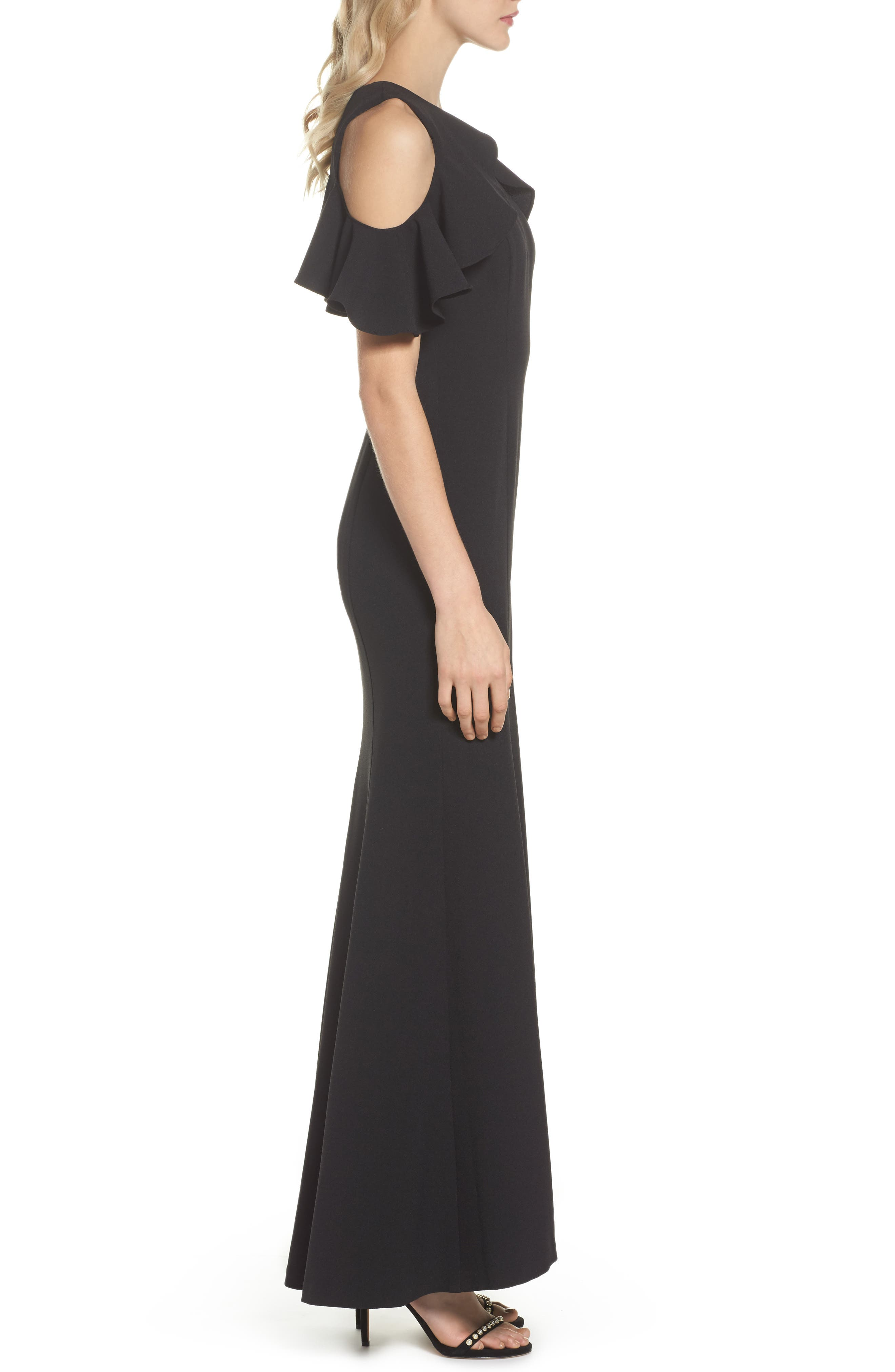 Ruffle Cold Shoulder Crepe Gown,                             Alternate thumbnail 3, color,                             Black