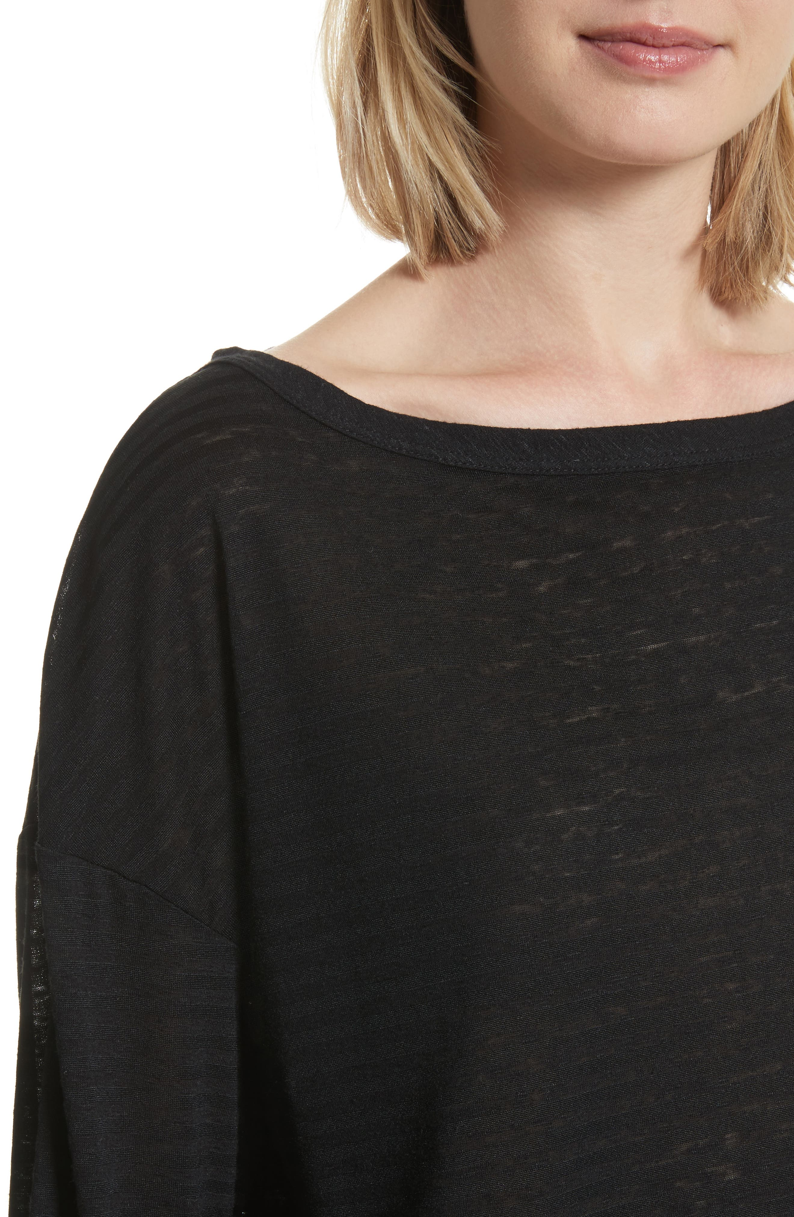 Holton Boat Neck Crop Tee,                             Alternate thumbnail 4, color,                             Black