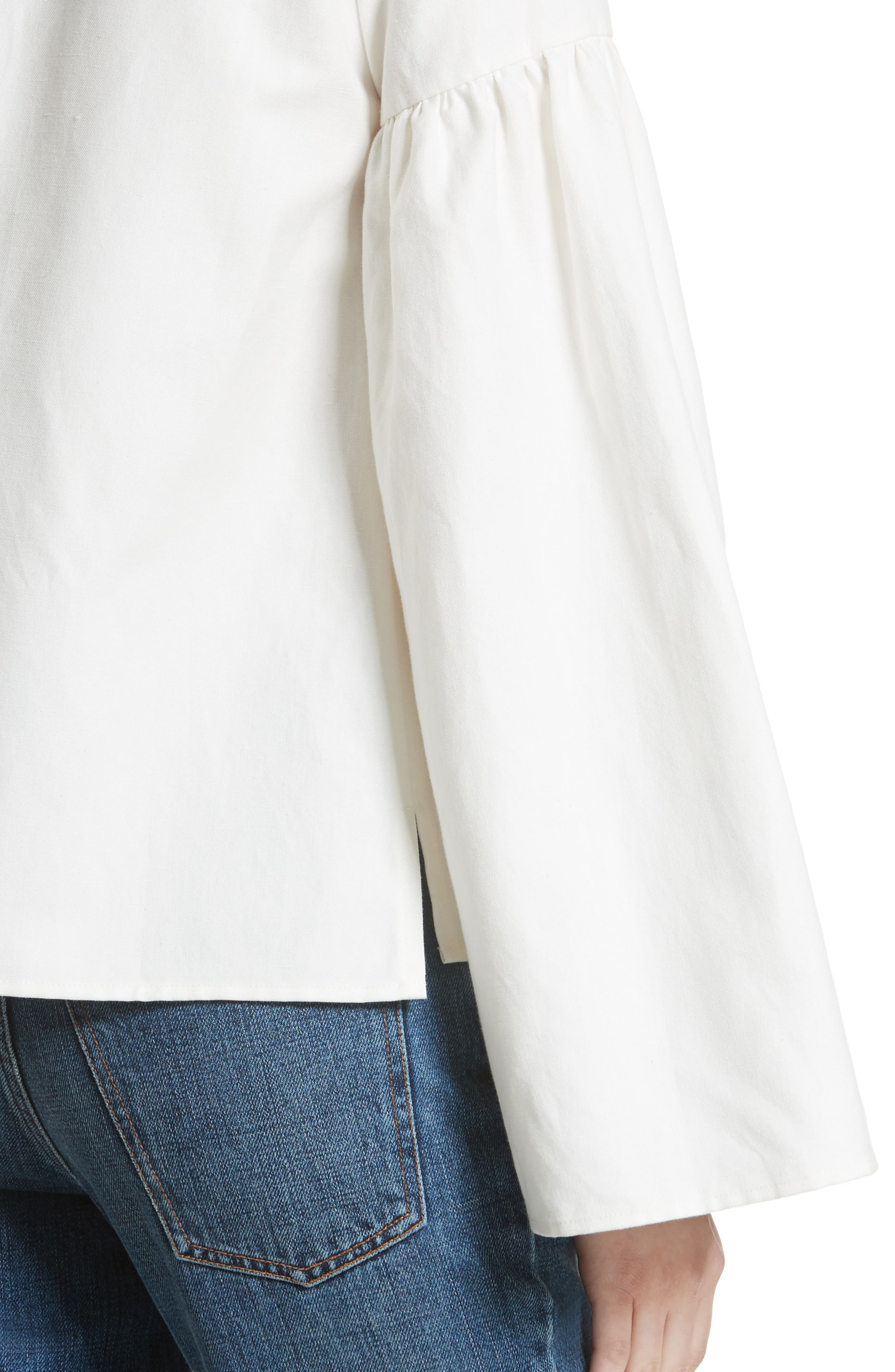 Linen & Cotton Puff Sleeve Top,                             Alternate thumbnail 4, color,                             Ivory