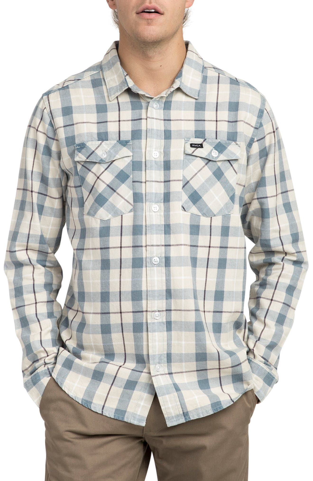 Alternate Image 1 Selected - RVCA Treets Plaid Flannel Shirt