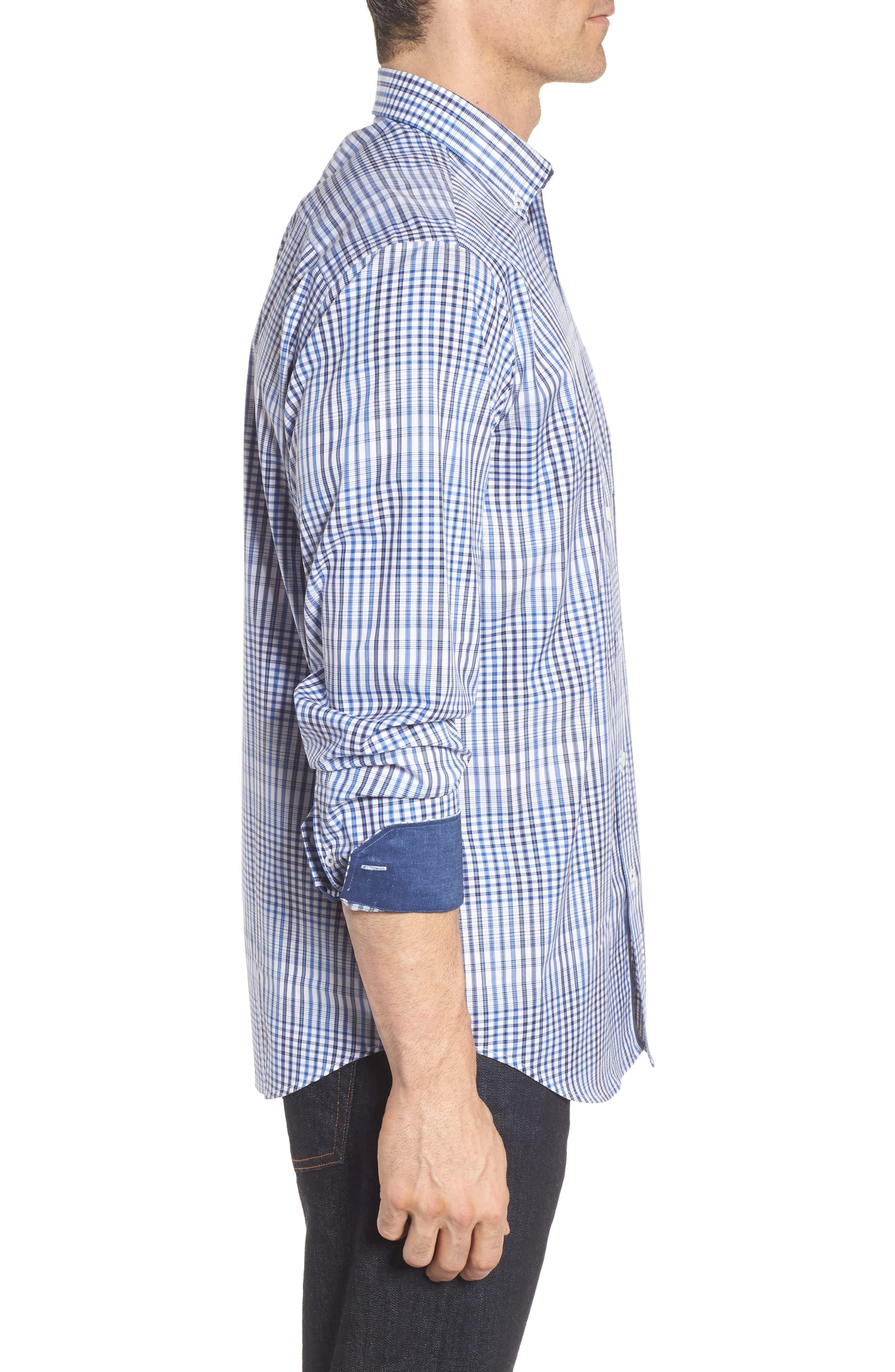 Classic Fit Plaid Sport Shirt,                             Alternate thumbnail 3, color,                             Classic Blue