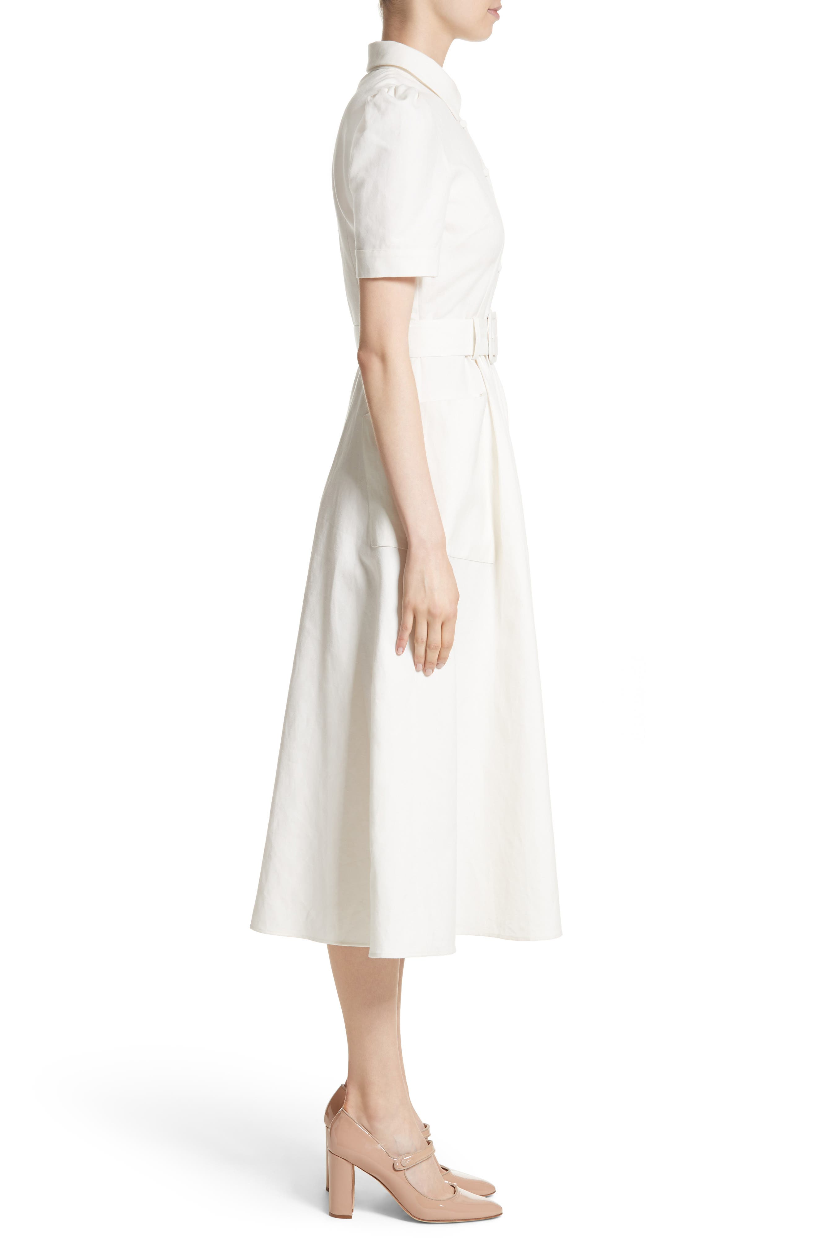 Linen & Cotton Shirtdress,                             Alternate thumbnail 3, color,                             Ivory