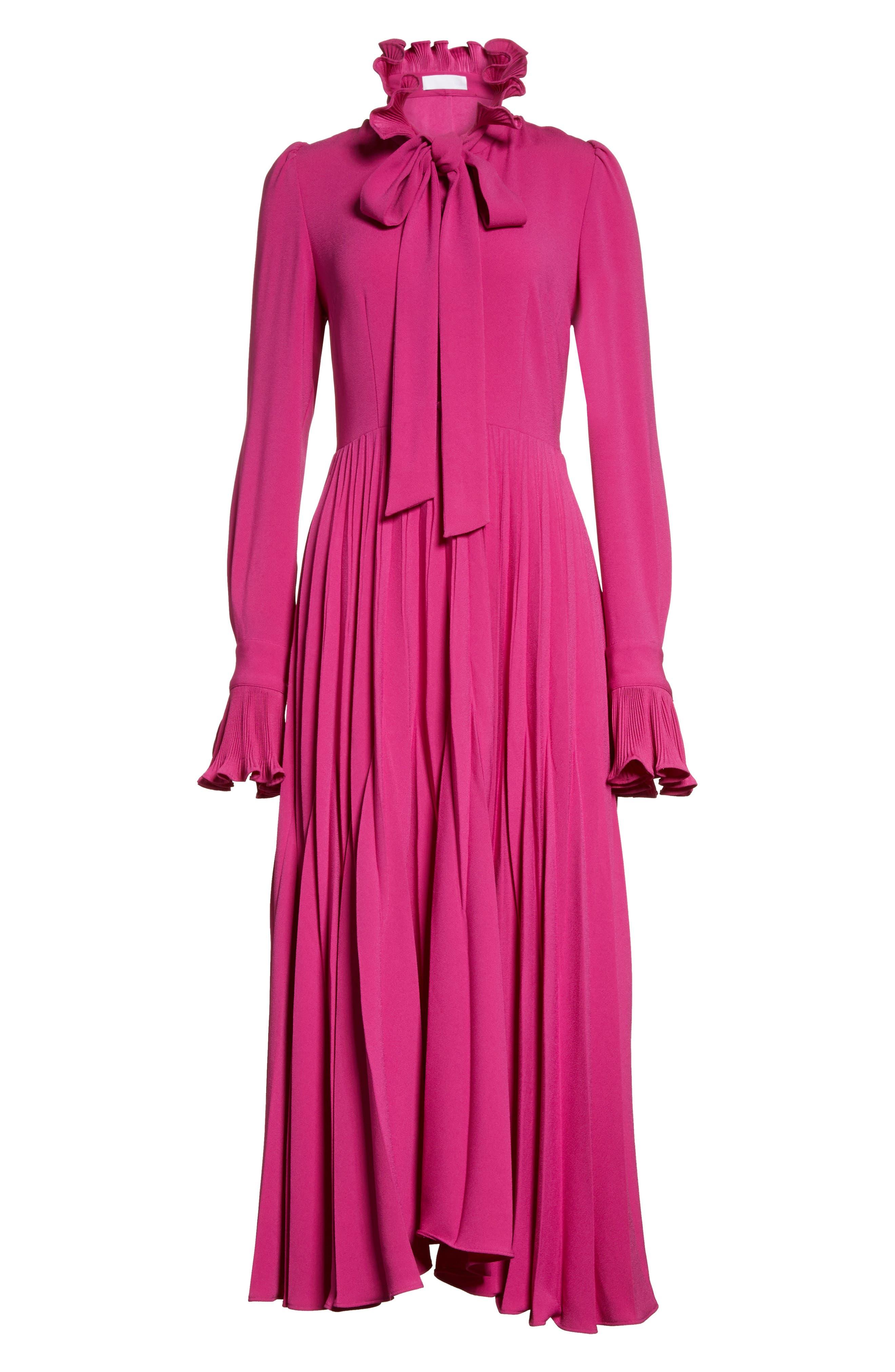 Ruffle & Pleated Midi Dress,                             Alternate thumbnail 8, color,                             Magenta
