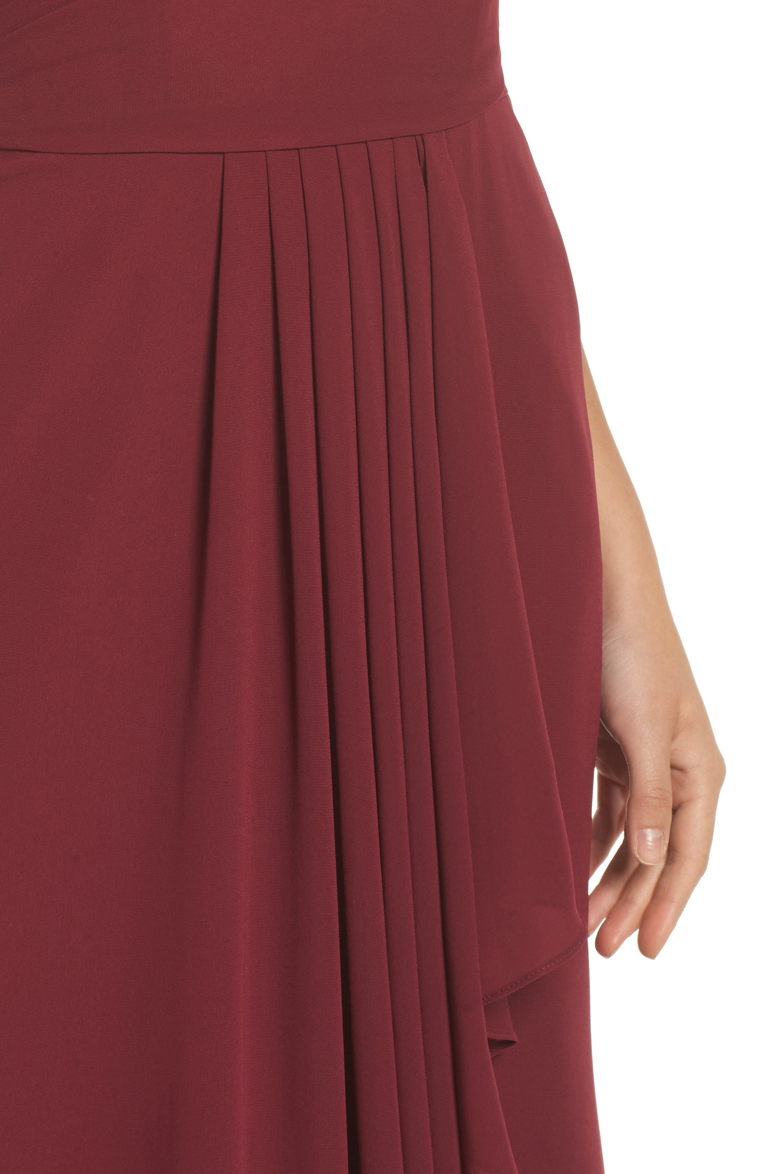 Chiffon Gown,                             Alternate thumbnail 4, color,                             Burgundy