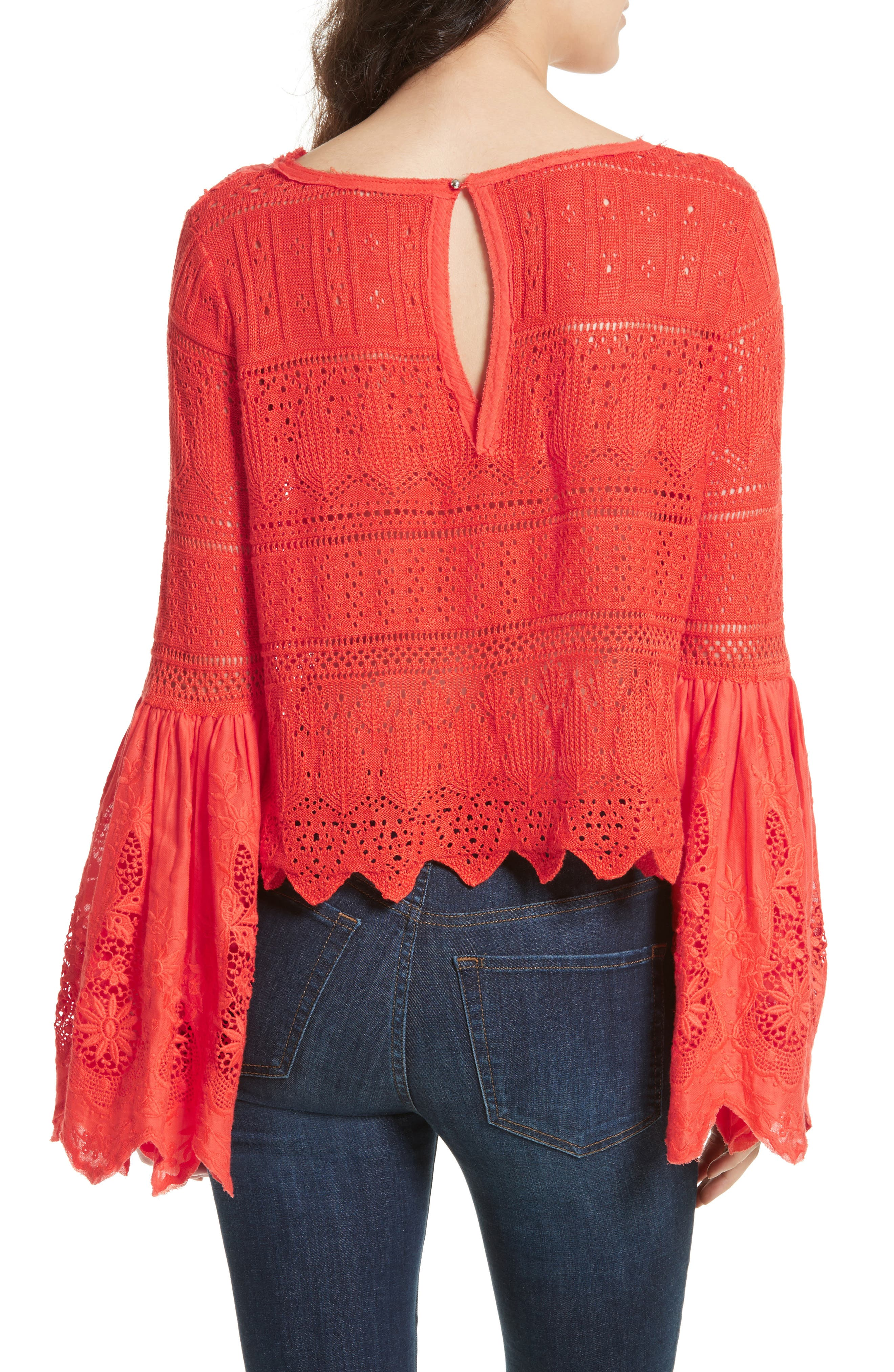 Once Upon a Time Lace Top,                             Alternate thumbnail 2, color,                             Red