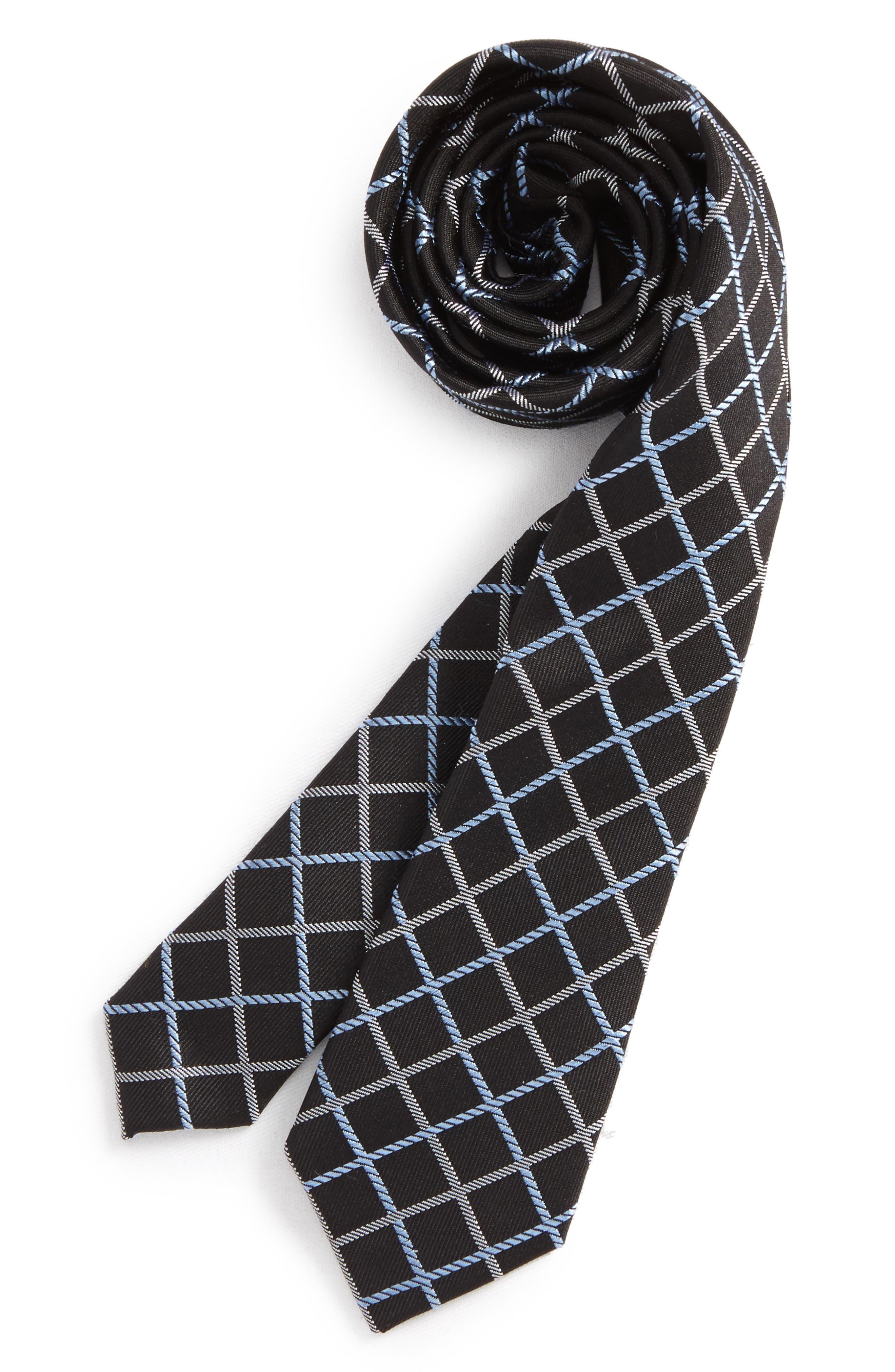 Check Silk Tie,                         Main,                         color, Black-White
