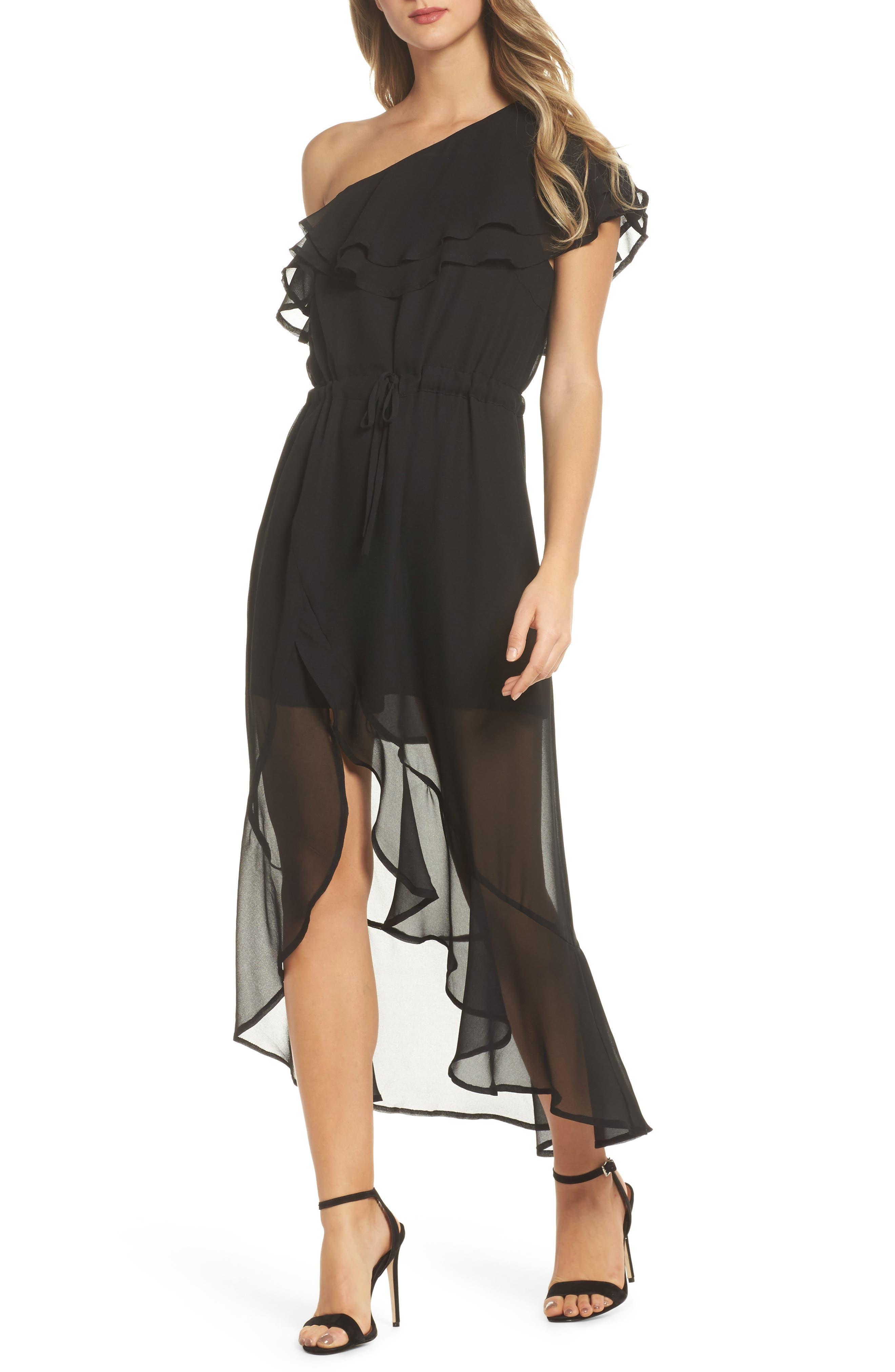 Kayla One-Shoulder Maxi Dress,                         Main,                         color, Black