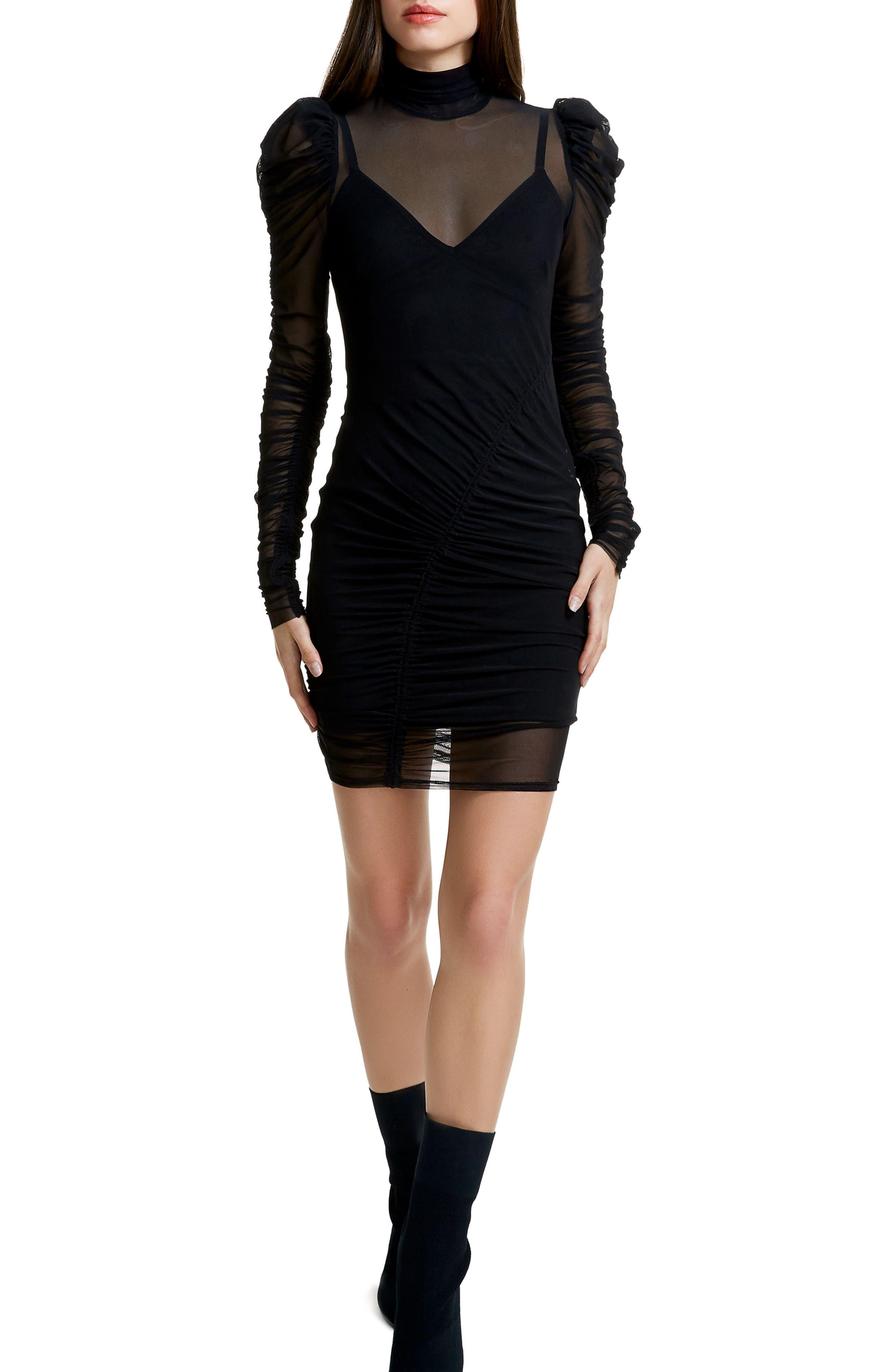 Angela Mesh Plaid Dress,                         Main,                         color, Noir