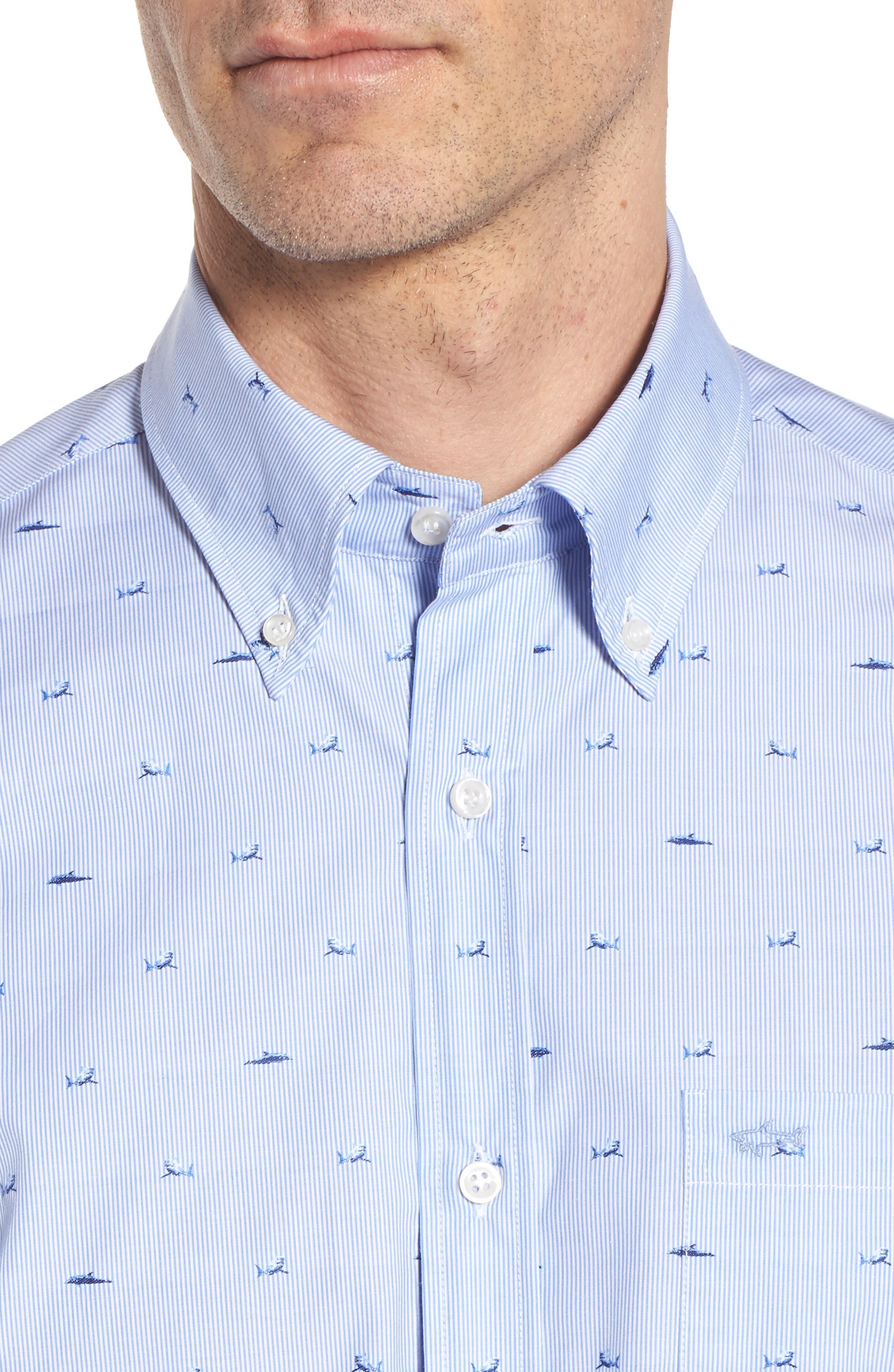 Paul&Shark Great White Jacquard Sport Shirt,                             Alternate thumbnail 2, color,                             Blue