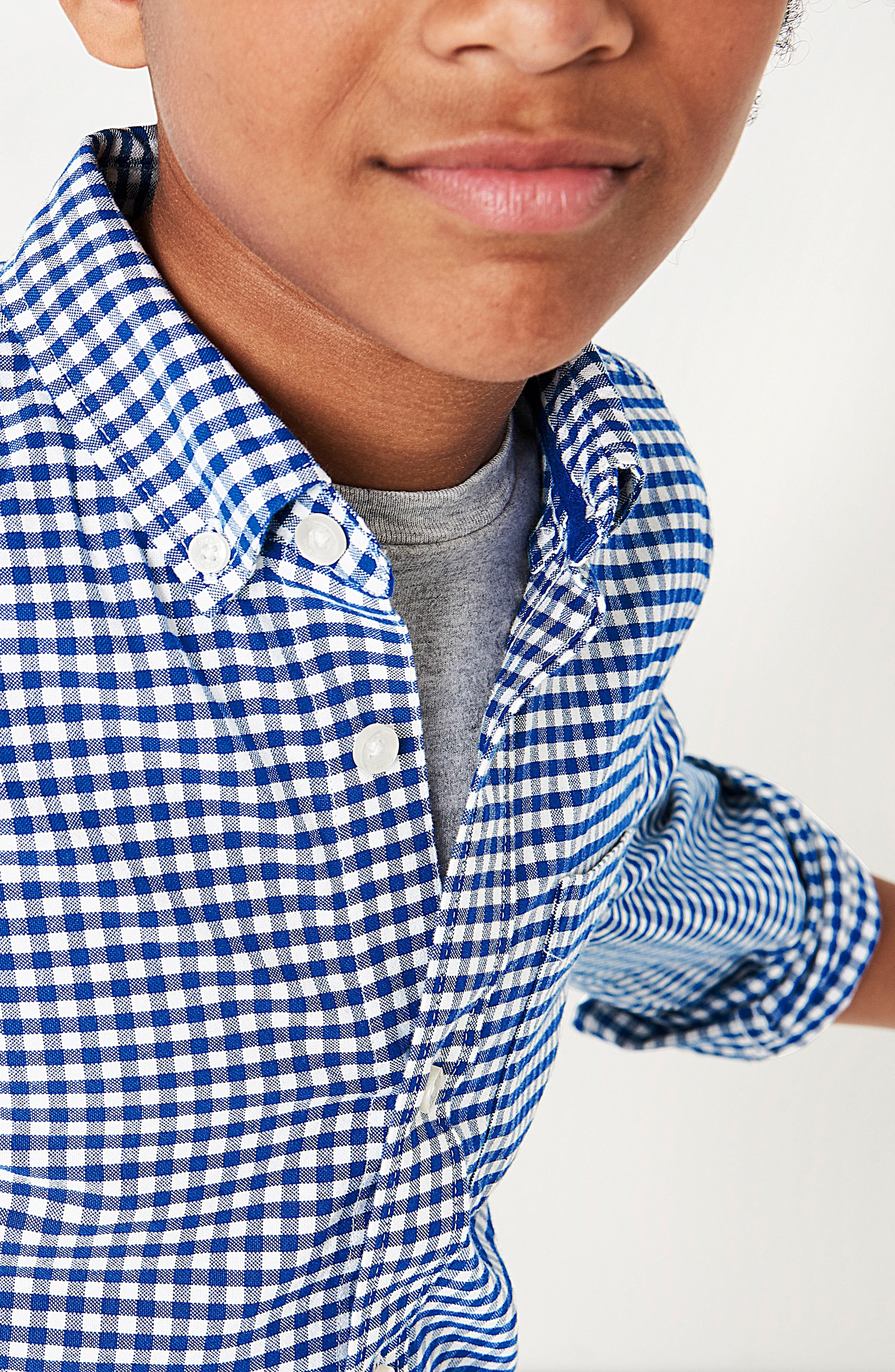 Gingham Oxford Shirt,                             Alternate thumbnail 4, color,                             Orion Blue Gingham