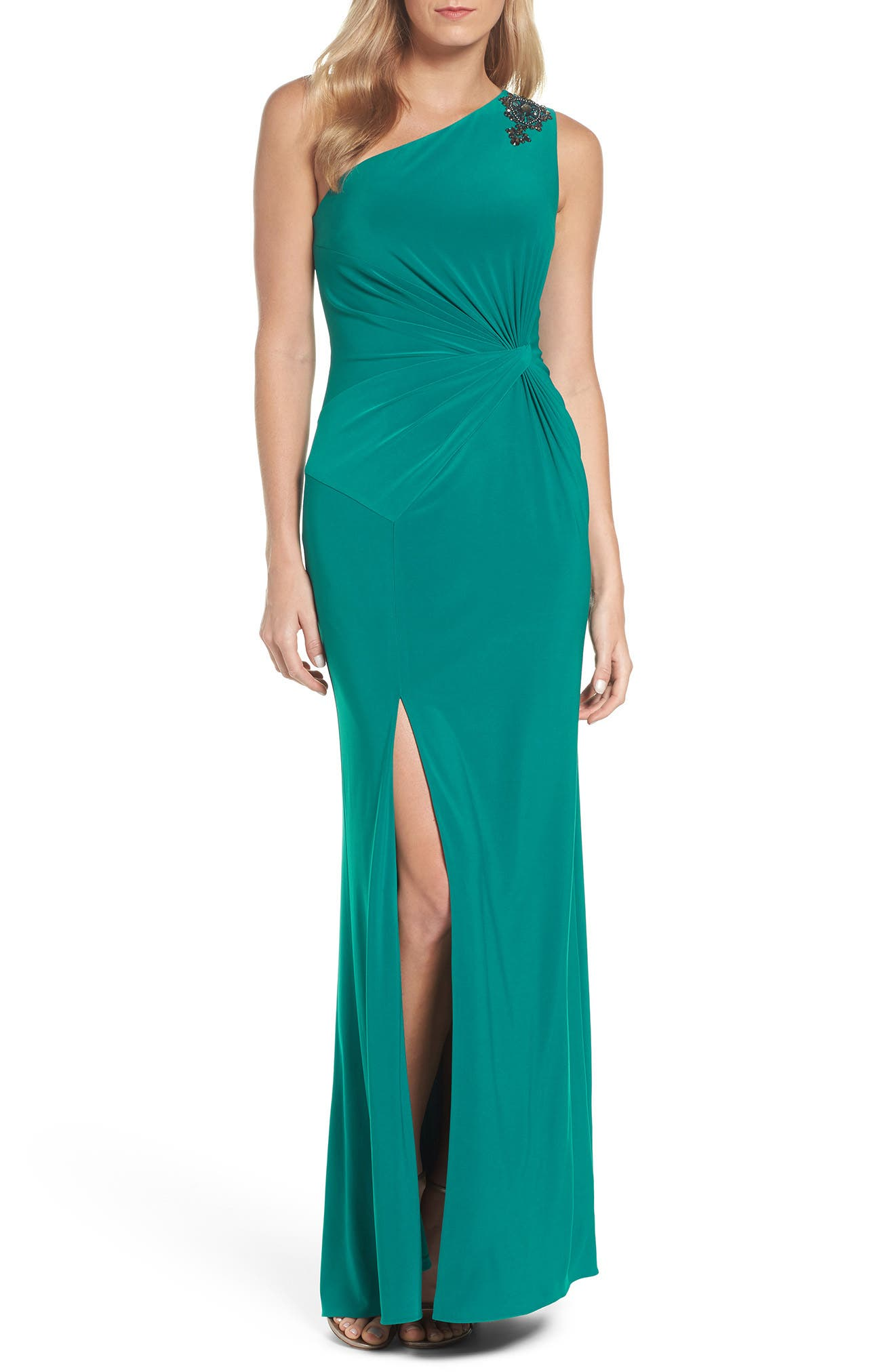 Alternate Image 1 Selected - Adrianna Papell One-Shoulder Jersey Gown