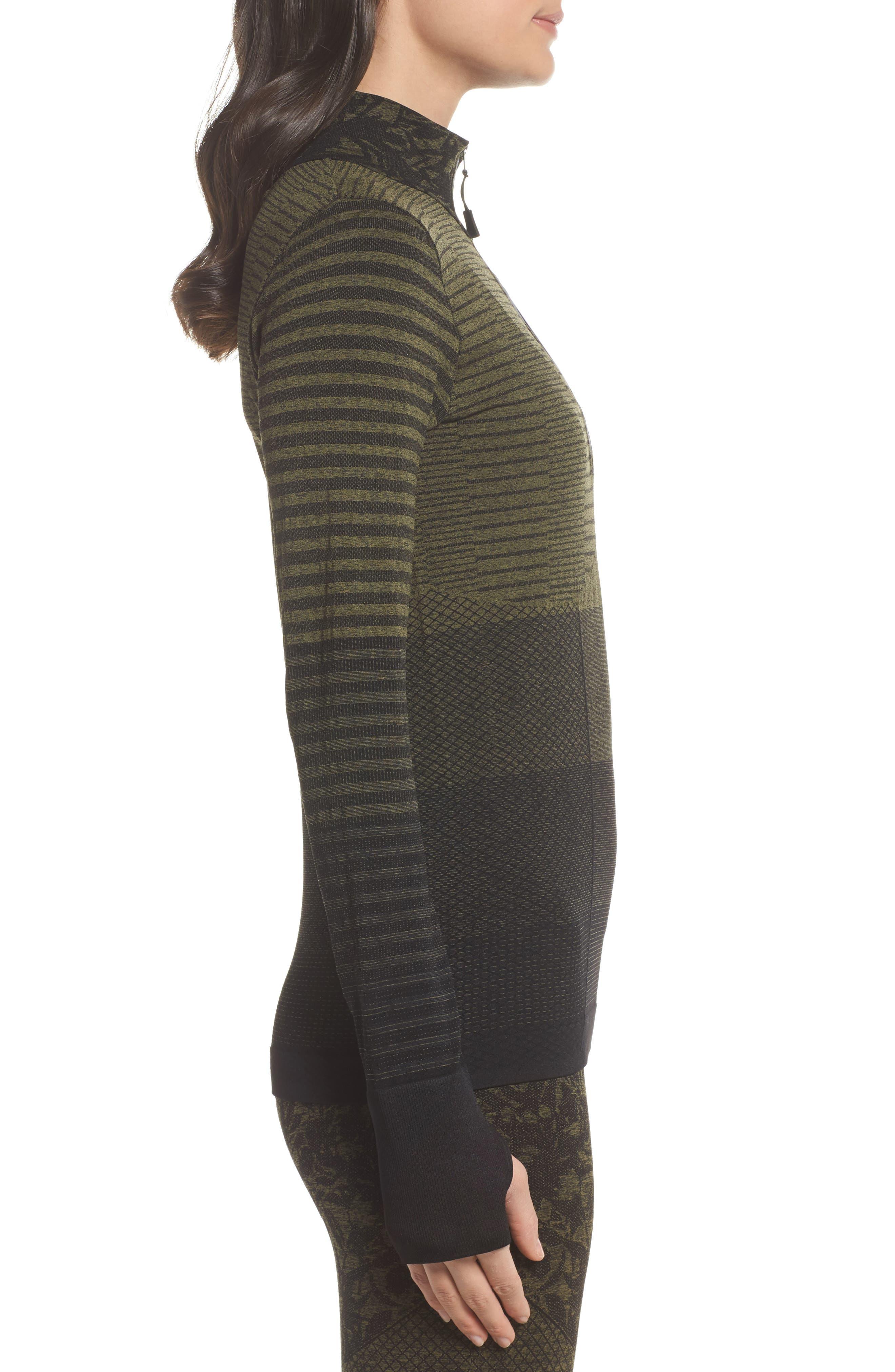 Vitality Quarter Zip Pullover,                             Alternate thumbnail 3, color,                             Deep Lichen Green/ Black
