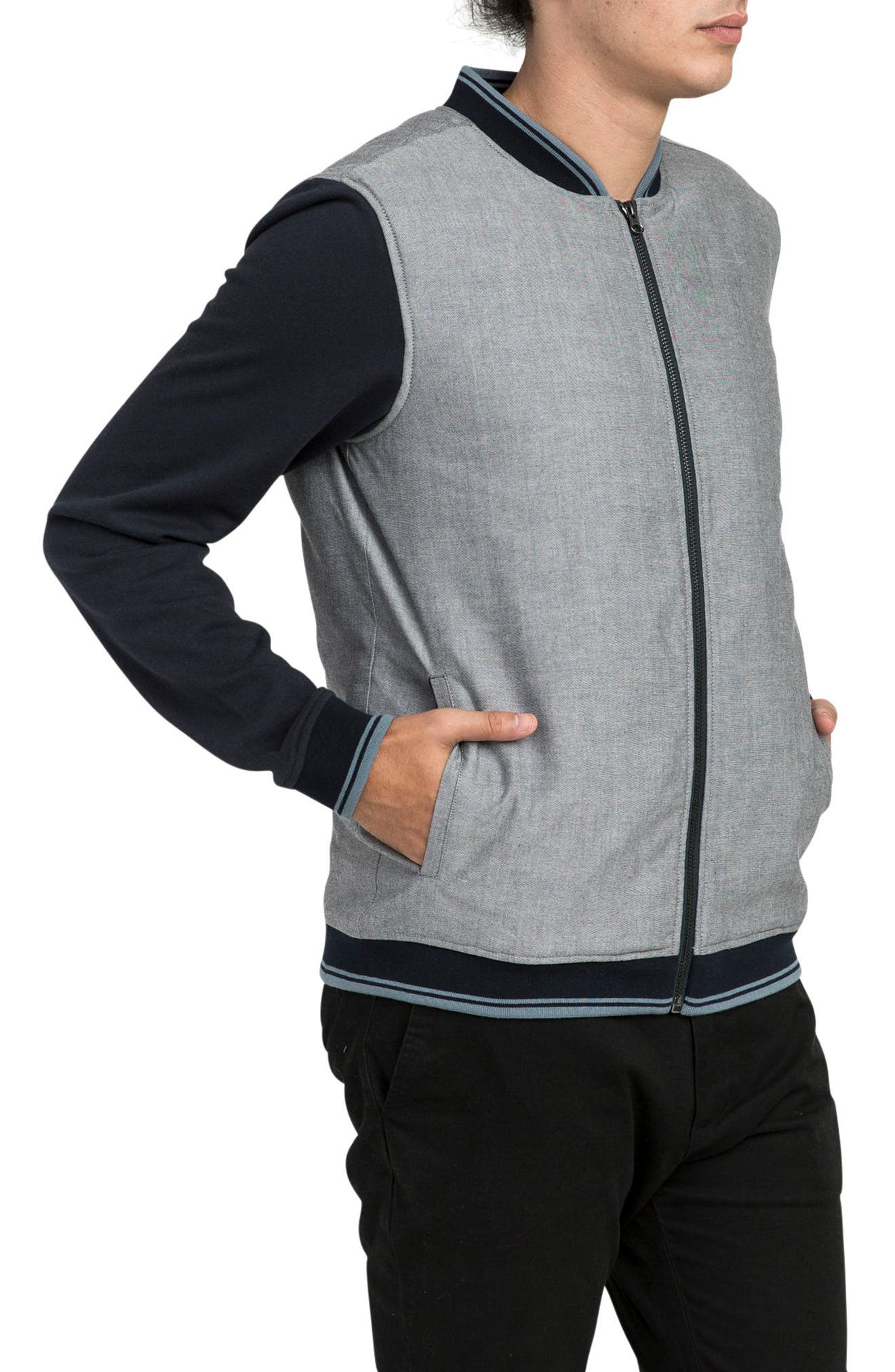 Oxford Bomber Jacket,                             Alternate thumbnail 3, color,                             Carbon