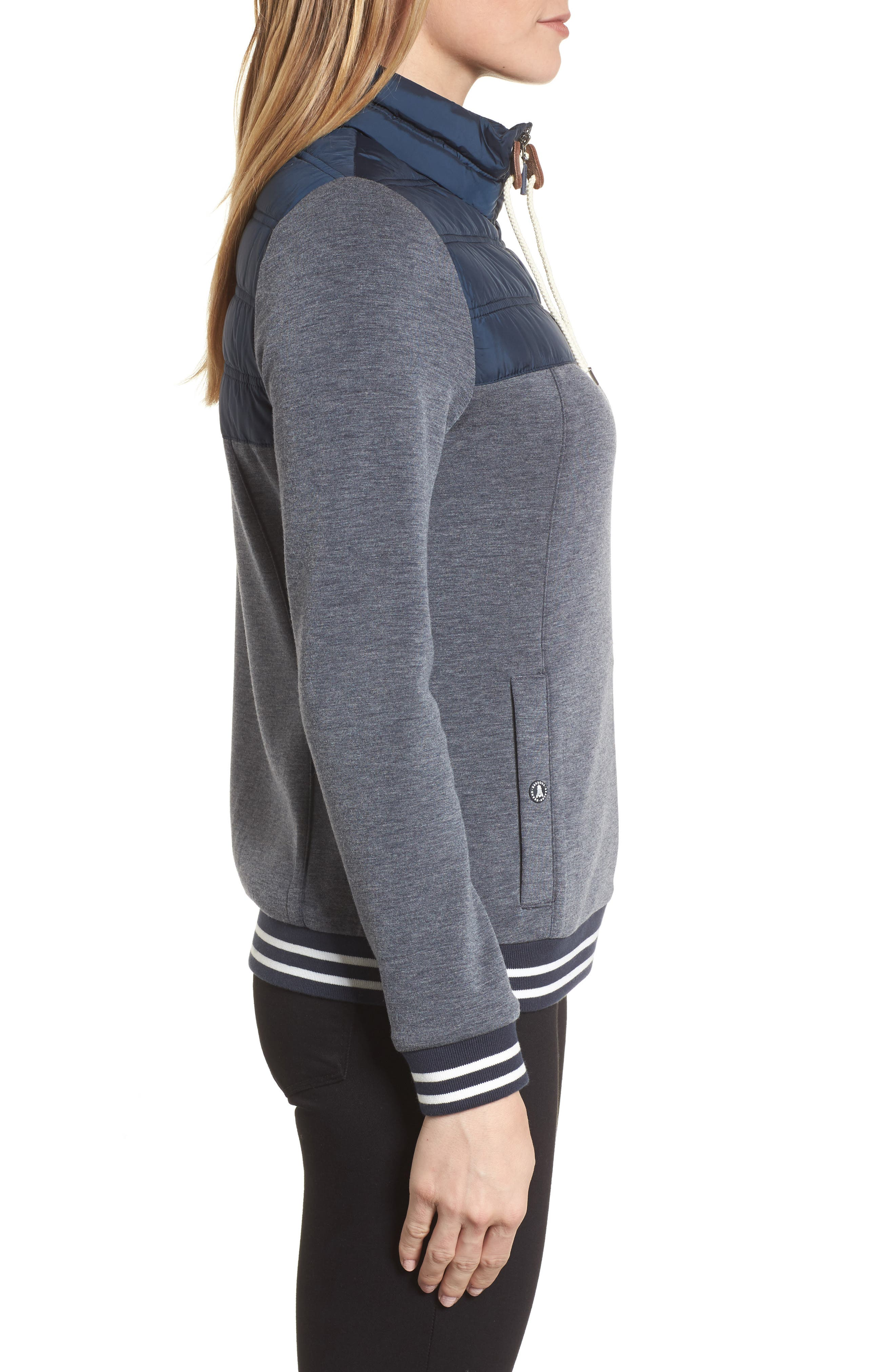 Selsey Zip Sweater,                             Alternate thumbnail 3, color,                             Navy Marl