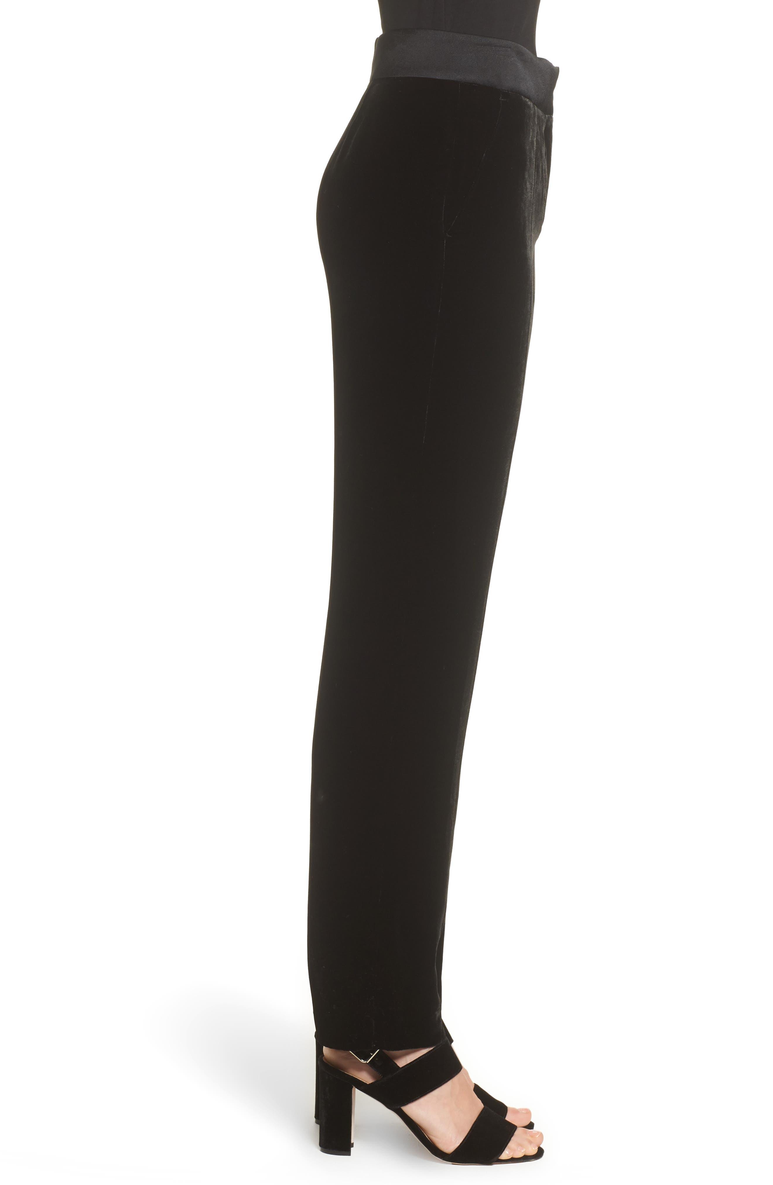 Tolesa Straight Leg Velvet Pants,                             Alternate thumbnail 3, color,                             Black
