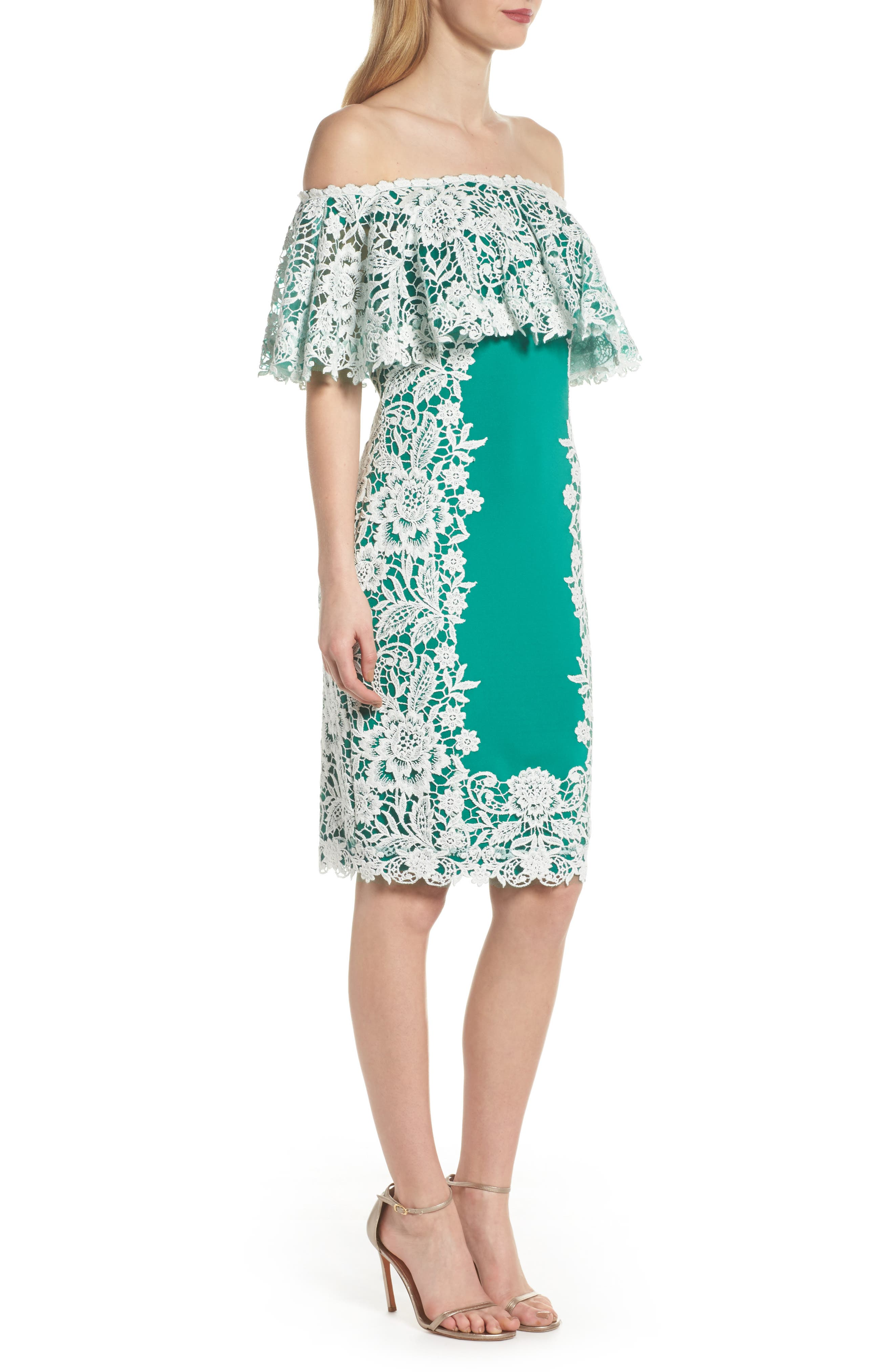 Alternate Image 3  - Tadashi Shoji Off the Shoulder Crochet & Neoprene Dress