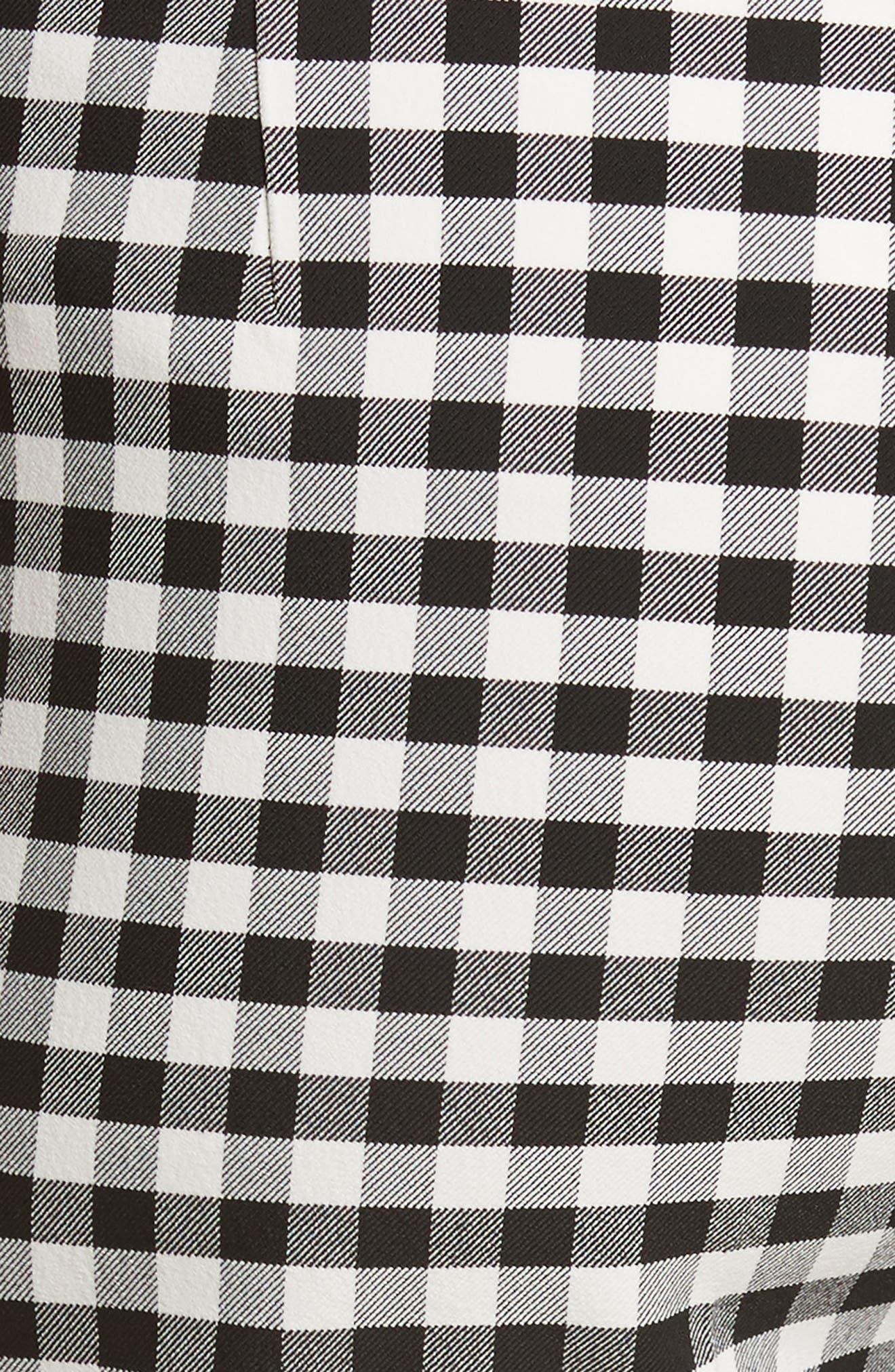 Gingham Classic Skinny Pants,                             Alternate thumbnail 5, color,                             Black/ White