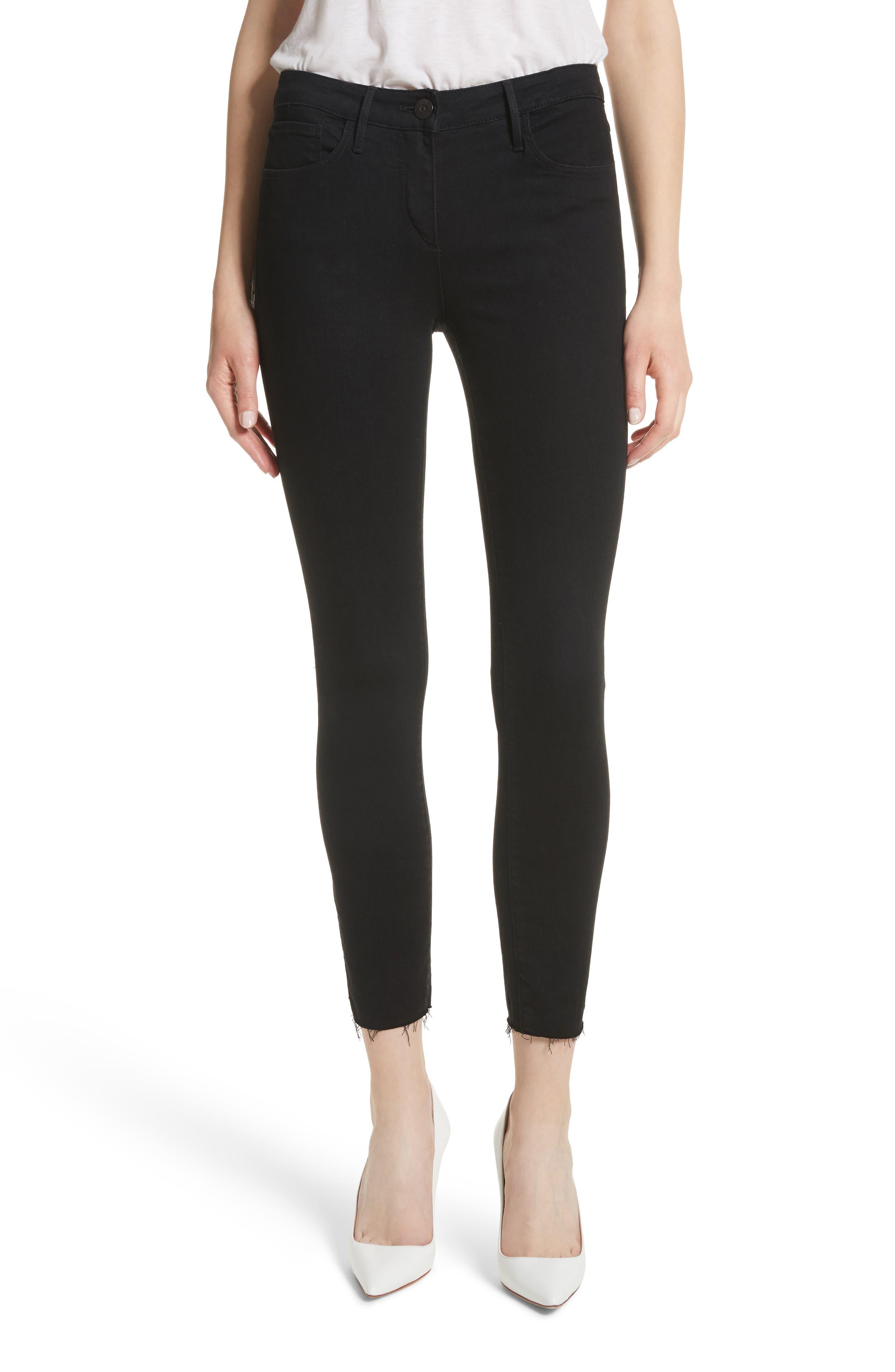 W2 Crop Skinny Jeans,                             Main thumbnail 1, color,                             Black Tear