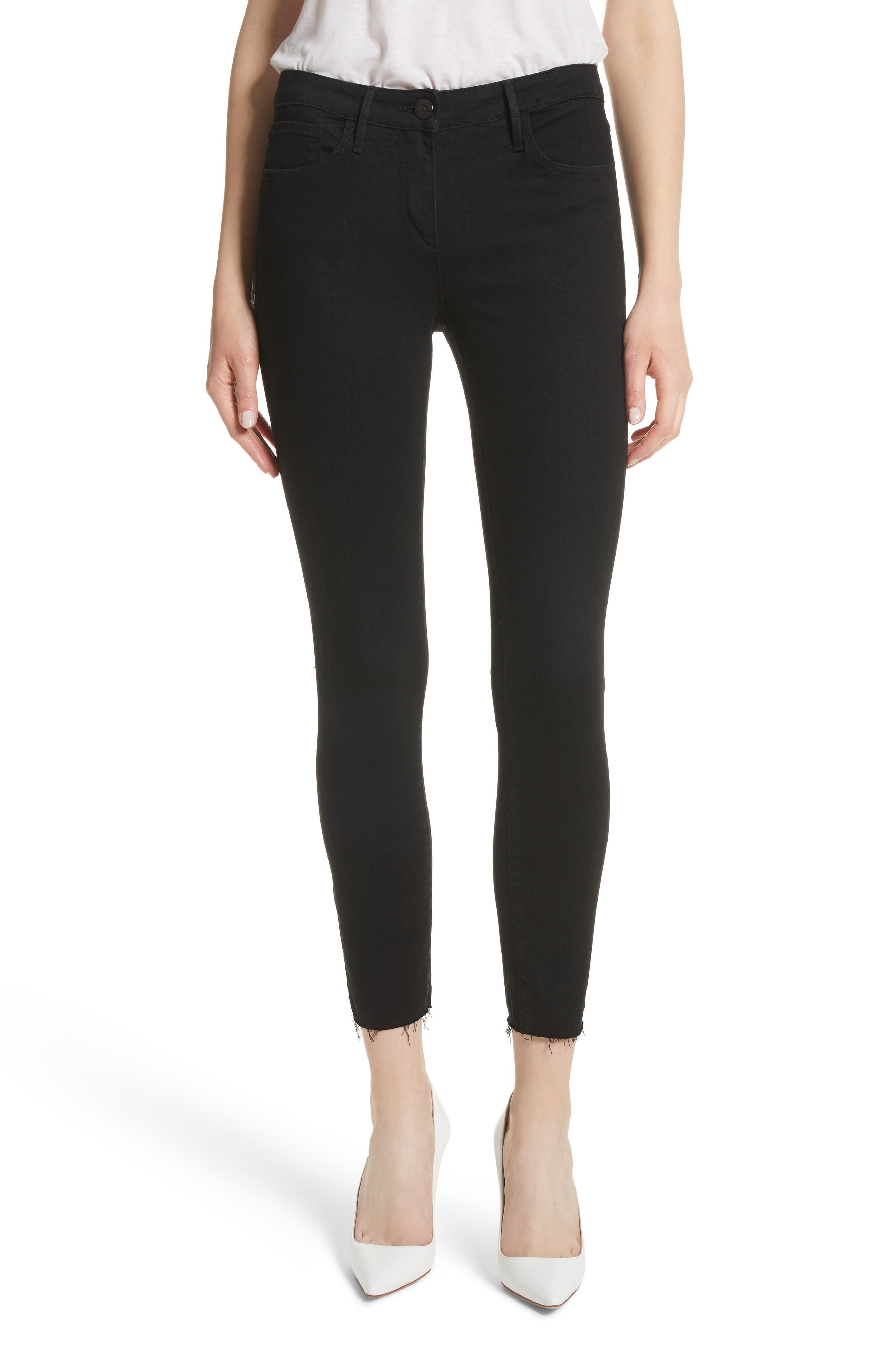 W2 Crop Skinny Jeans,                         Main,                         color, Black Tear