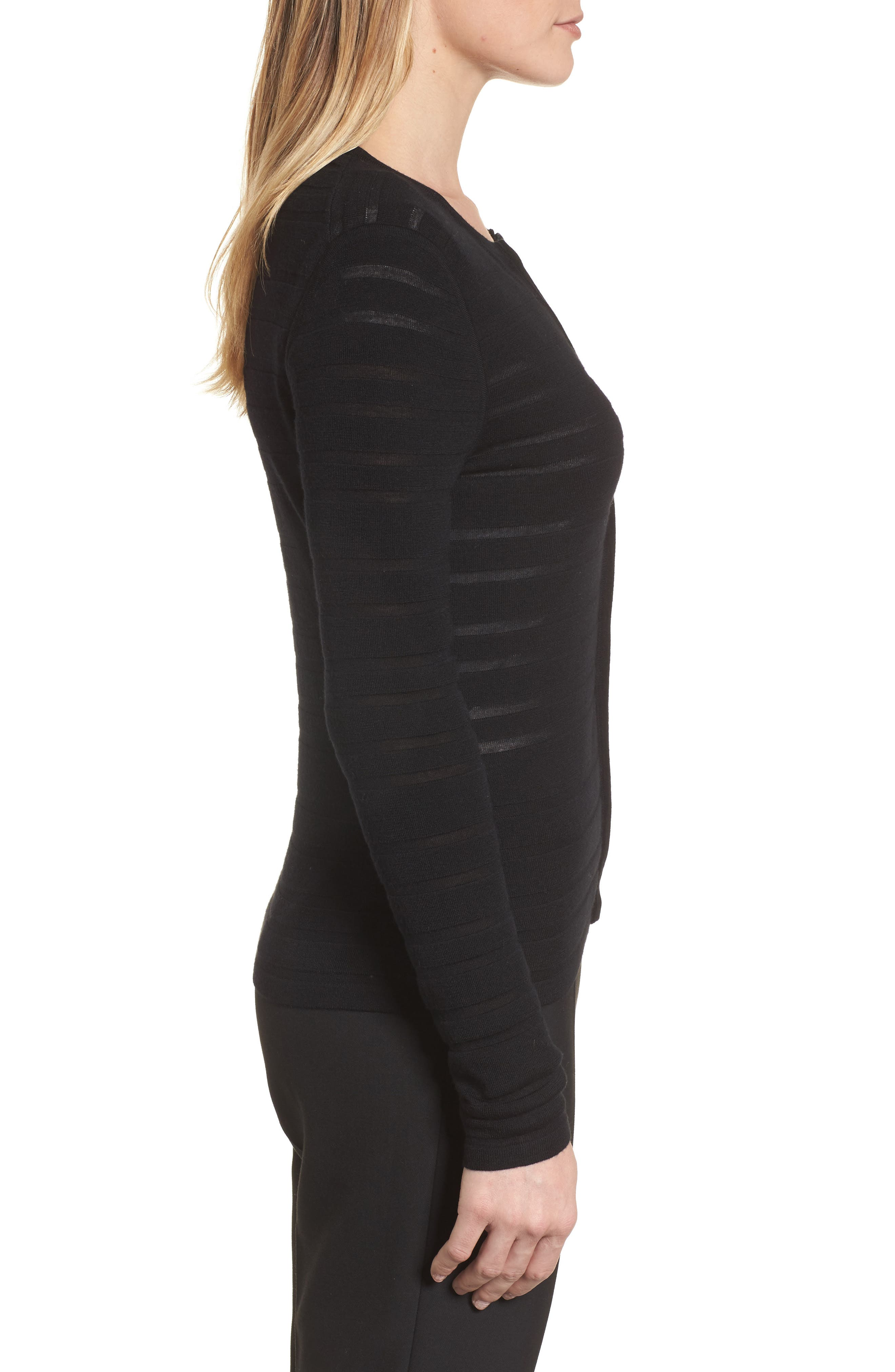 Alternate Image 3  - BOSS Fahsa Stripe Textured Wool Cardigan