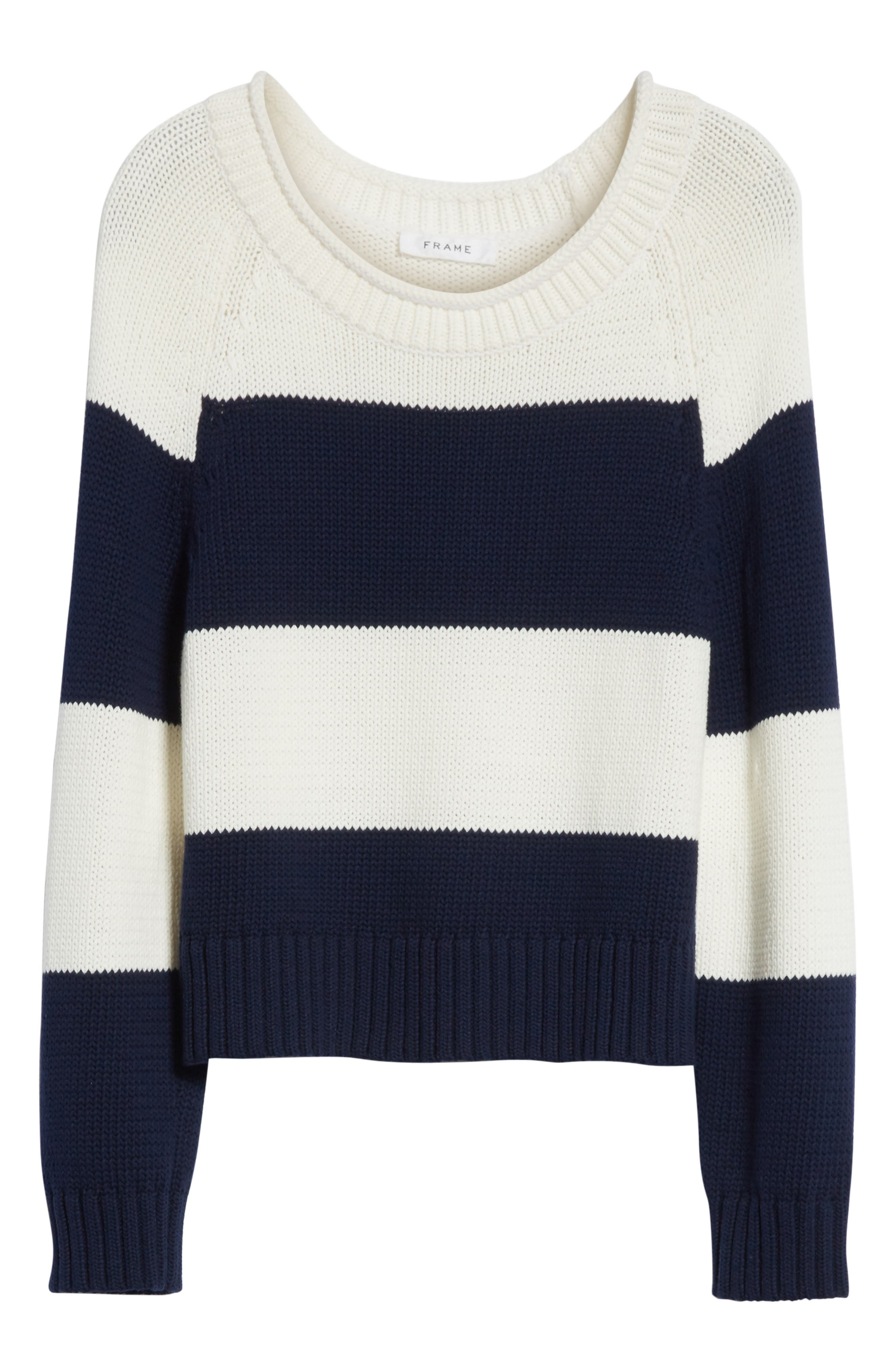 Stripe Cotton Blend Sweater,                             Alternate thumbnail 7, color,                             Off White/ Navy Stripe