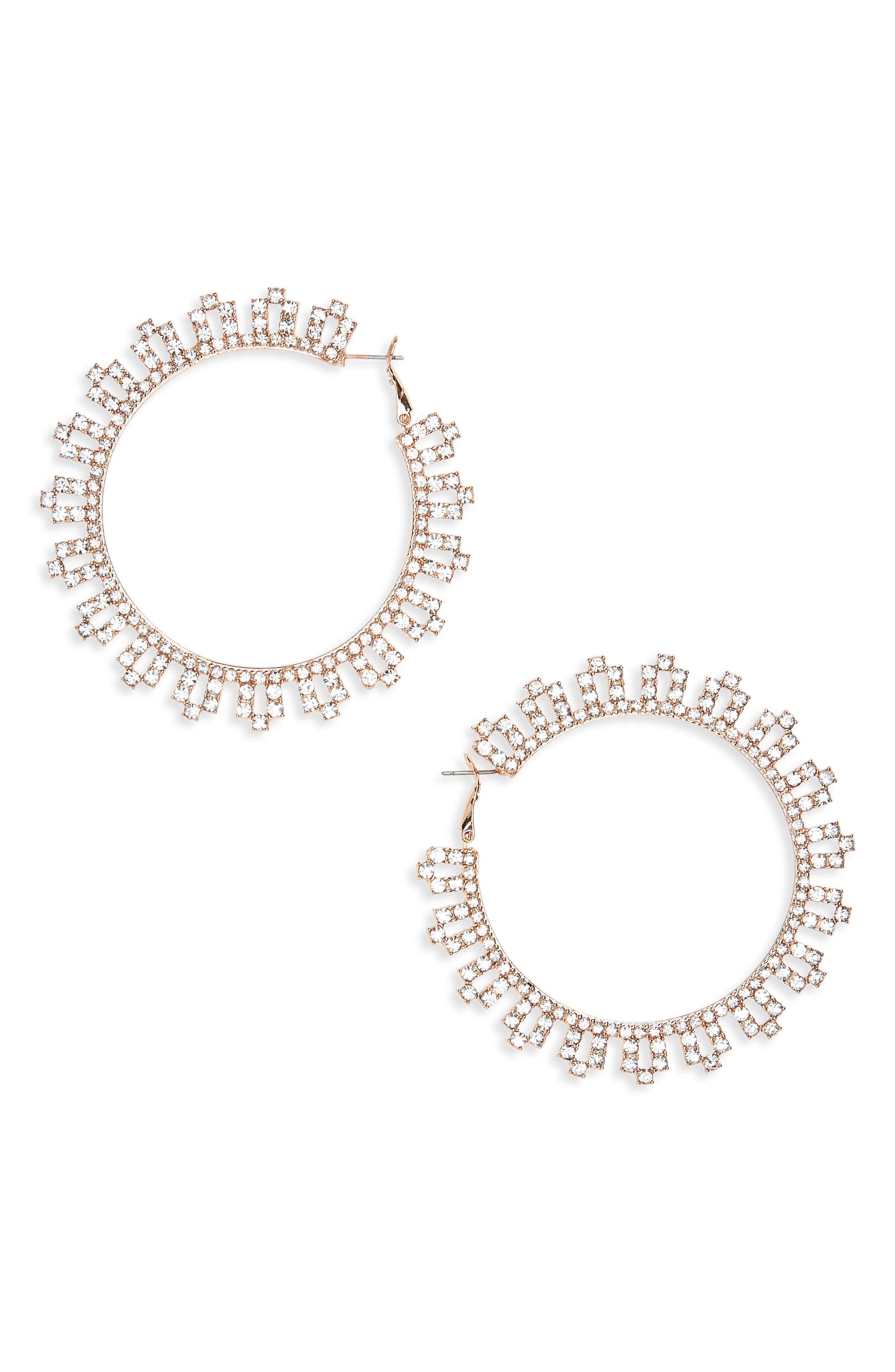 Lace Crystal Statement Earrings,                             Main thumbnail 1, color,                             Crystal/ Rose Gold