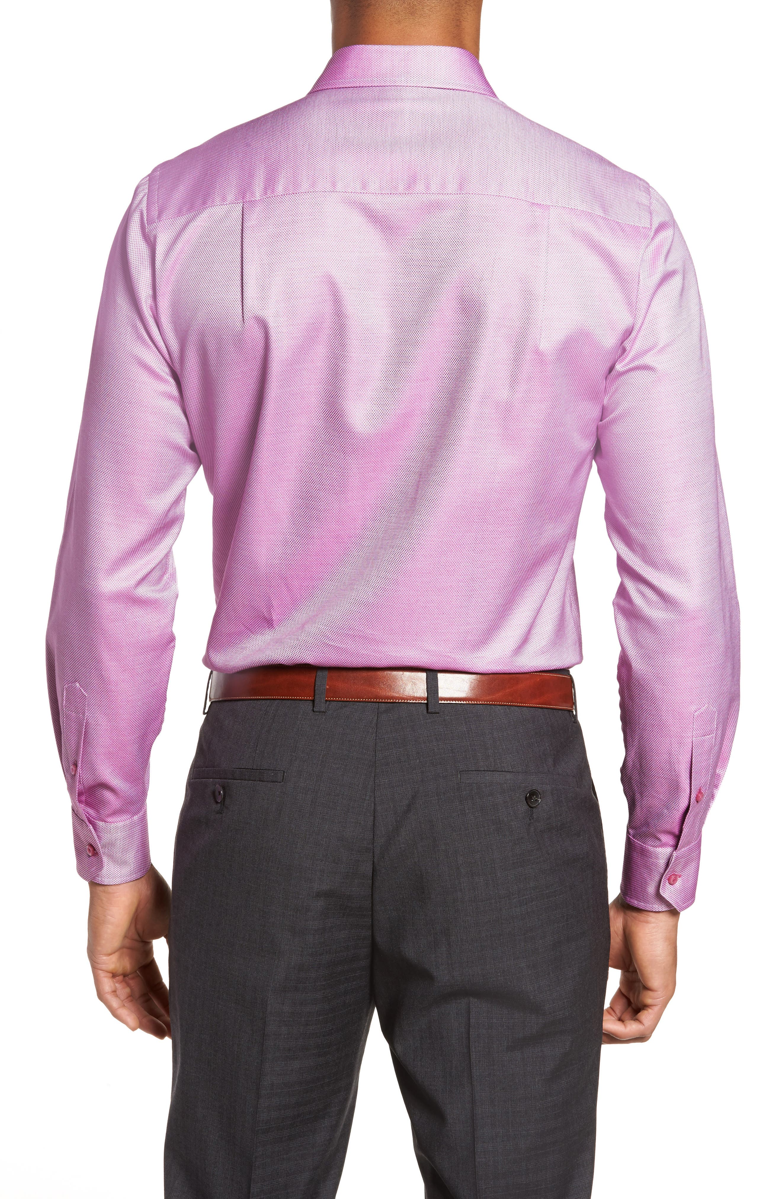 Solid Sport Shirt,                             Alternate thumbnail 2, color,                             Berry
