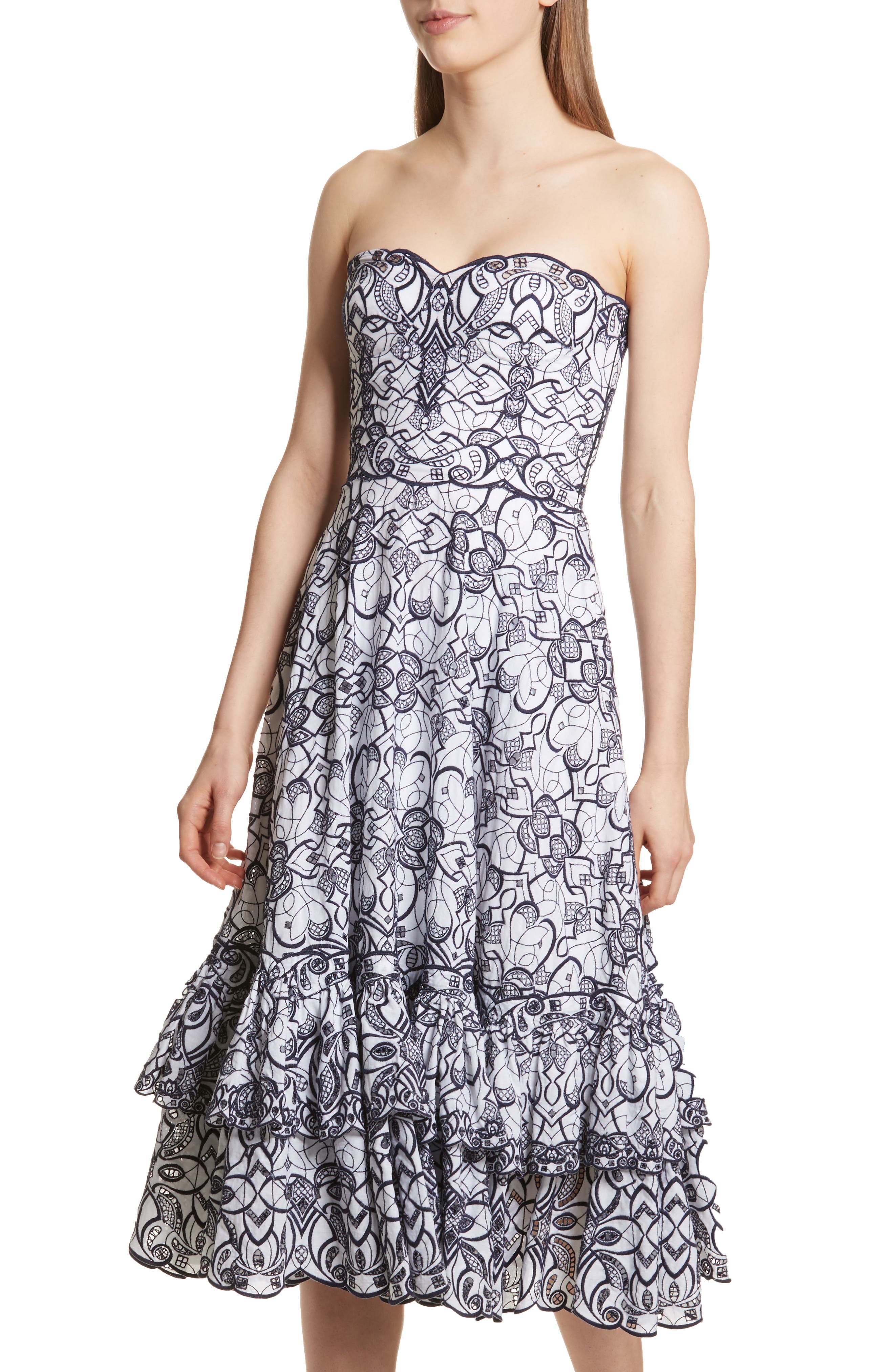 Scallop Hem Embroidered Strapless Dress,                             Alternate thumbnail 4, color,                             White/ Midnight