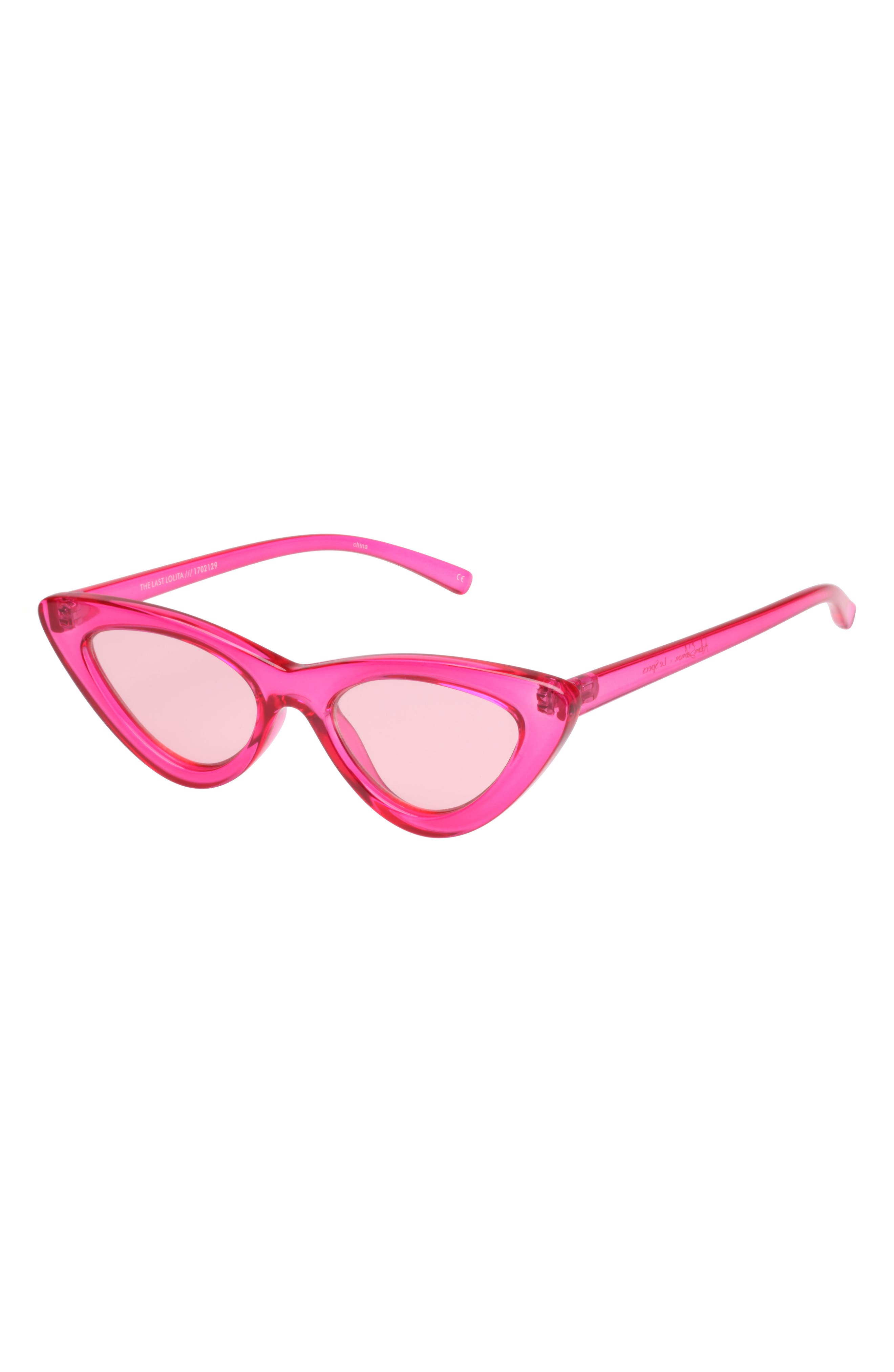 Last Lolita 49mm Cat Eye Sunglasses,                             Alternate thumbnail 3, color,                             Hot Pink