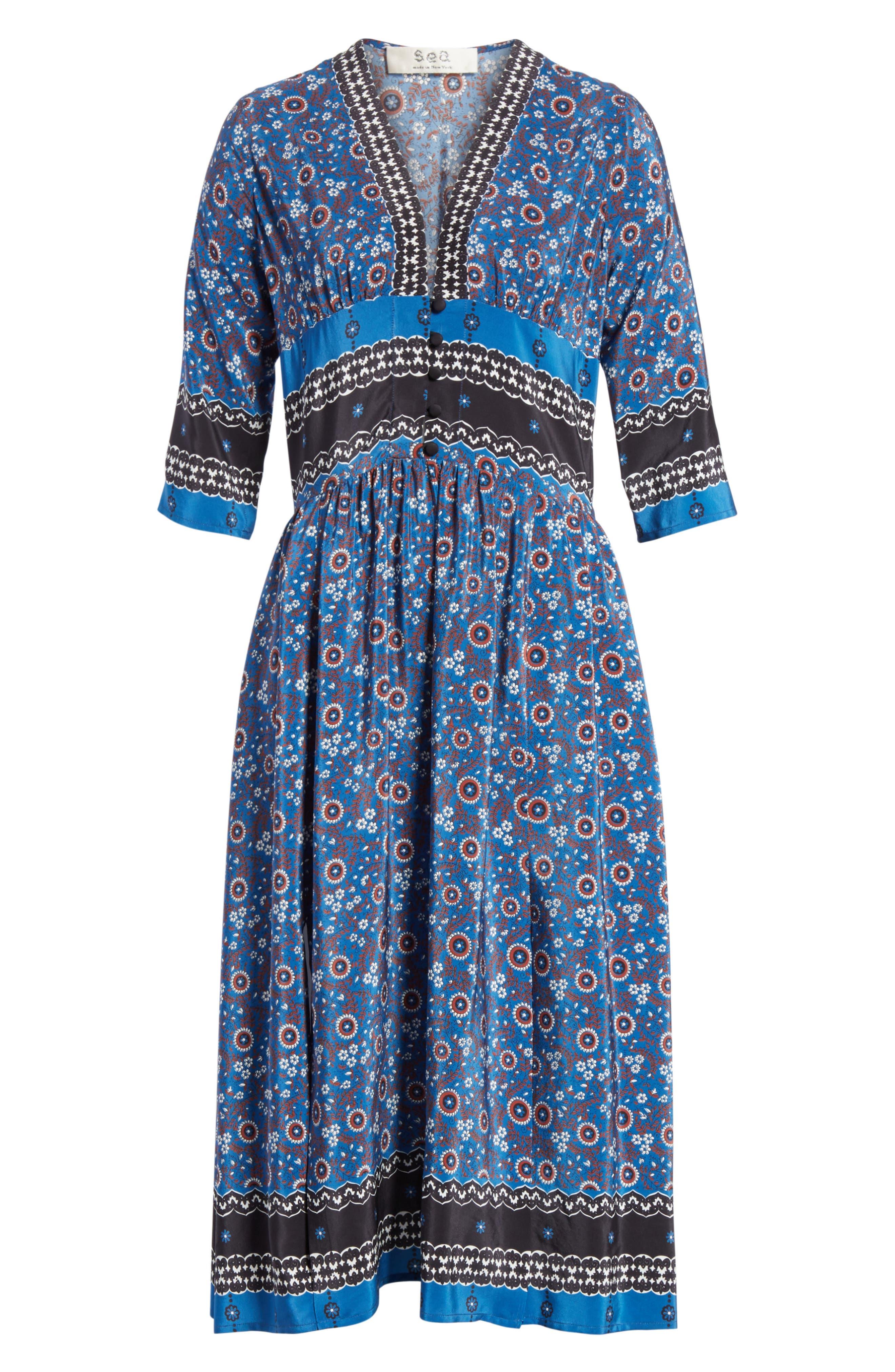 Tallulah Empire Waist Silk Midi Dress,                             Alternate thumbnail 6, color,                             Blue Multi