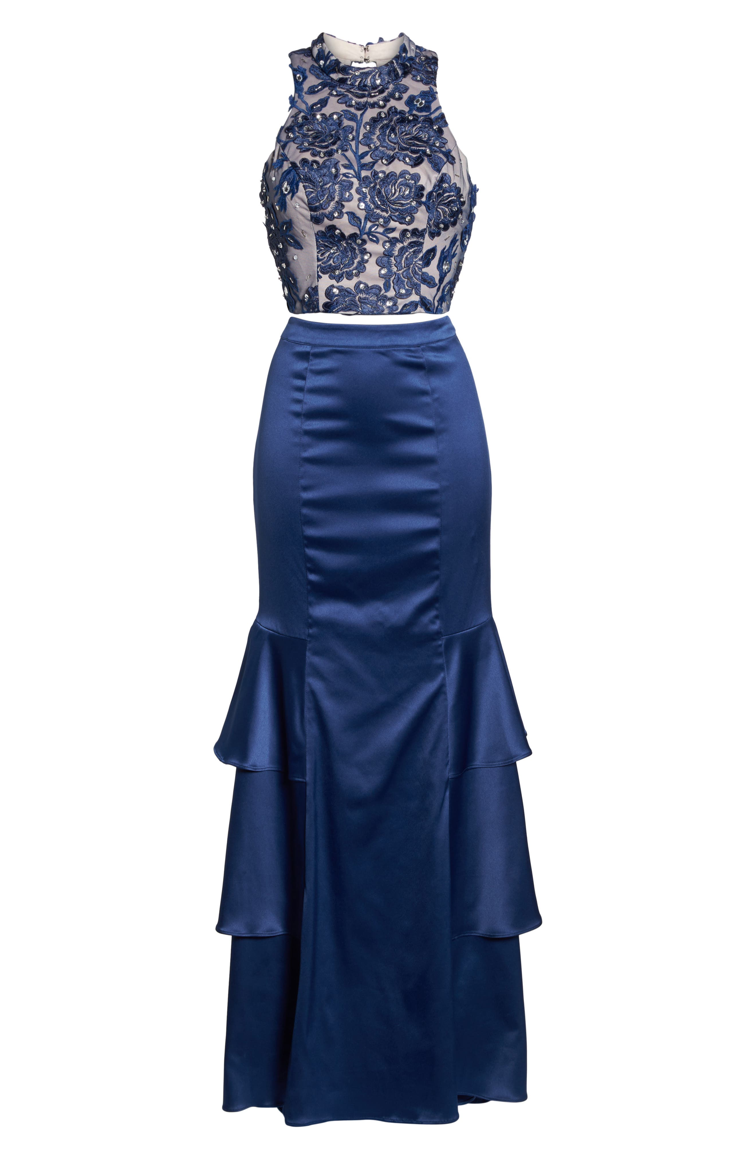 Beaded Lace & Satin Two-Piece Gown,                             Alternate thumbnail 6, color,                             Navy/ Mauve