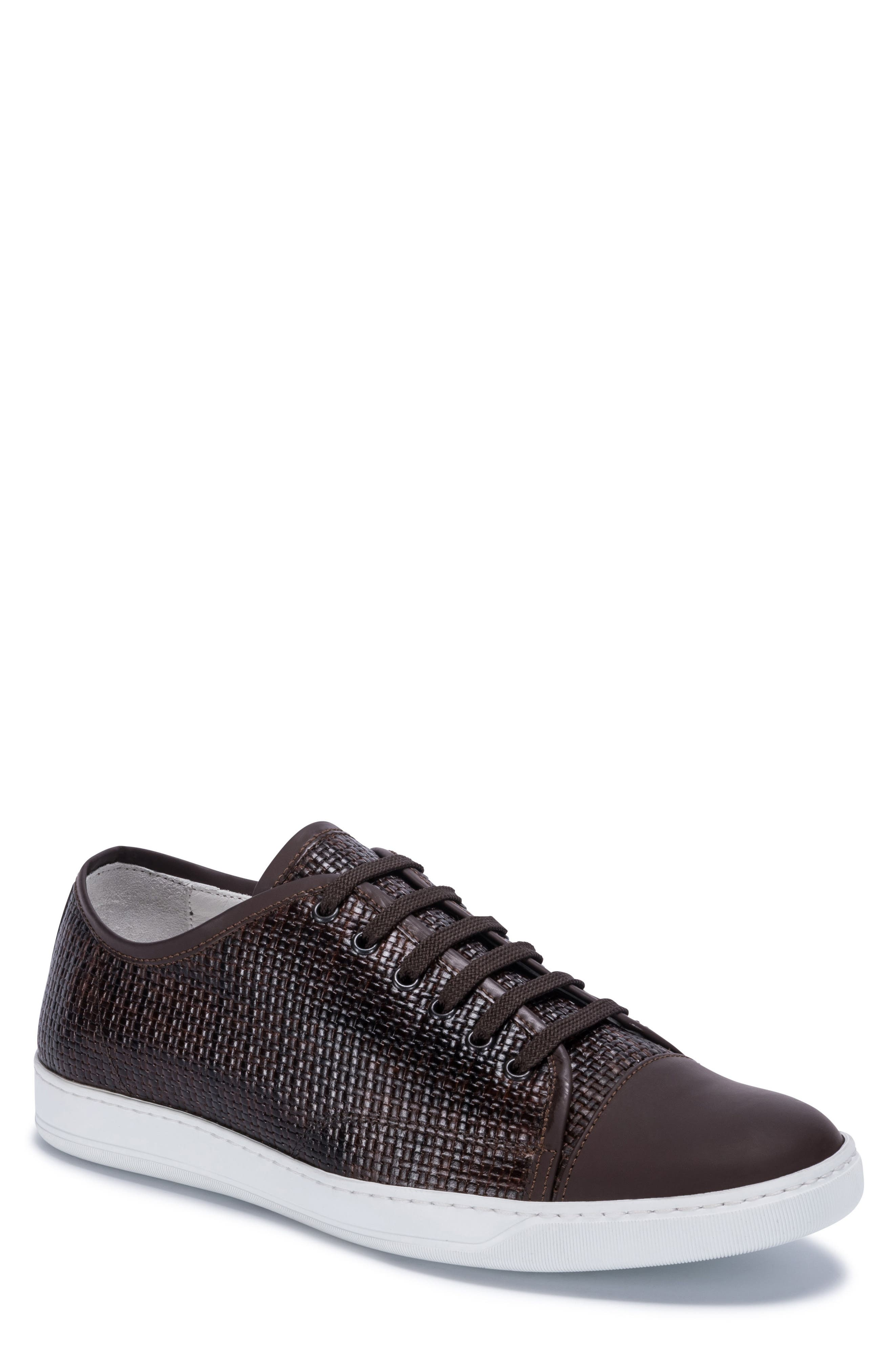 Cinque Terre Woven Cap Toe Sneaker,                             Main thumbnail 1, color,                             Brown Leather