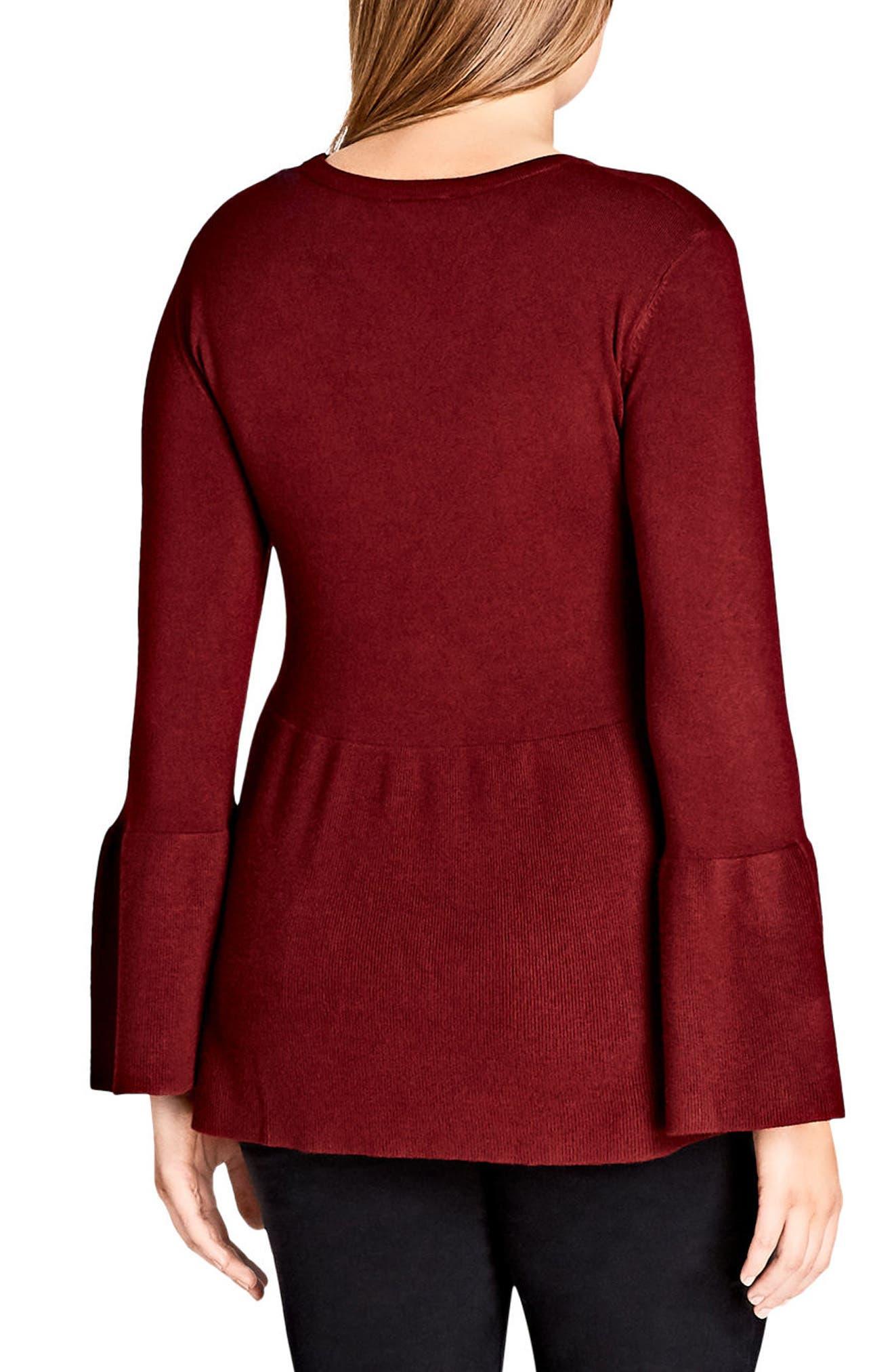Alternate Image 2  - City Chic Bell Sleeve Peplum Sweater (Plus Size)