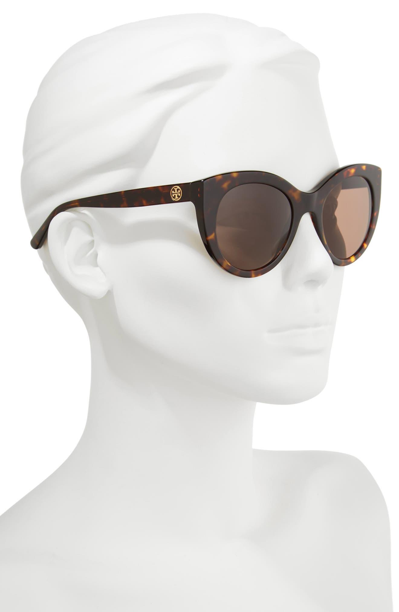 51mm Cat Eye Sunglasses,                             Alternate thumbnail 2, color,                             Tortoise/ Gold