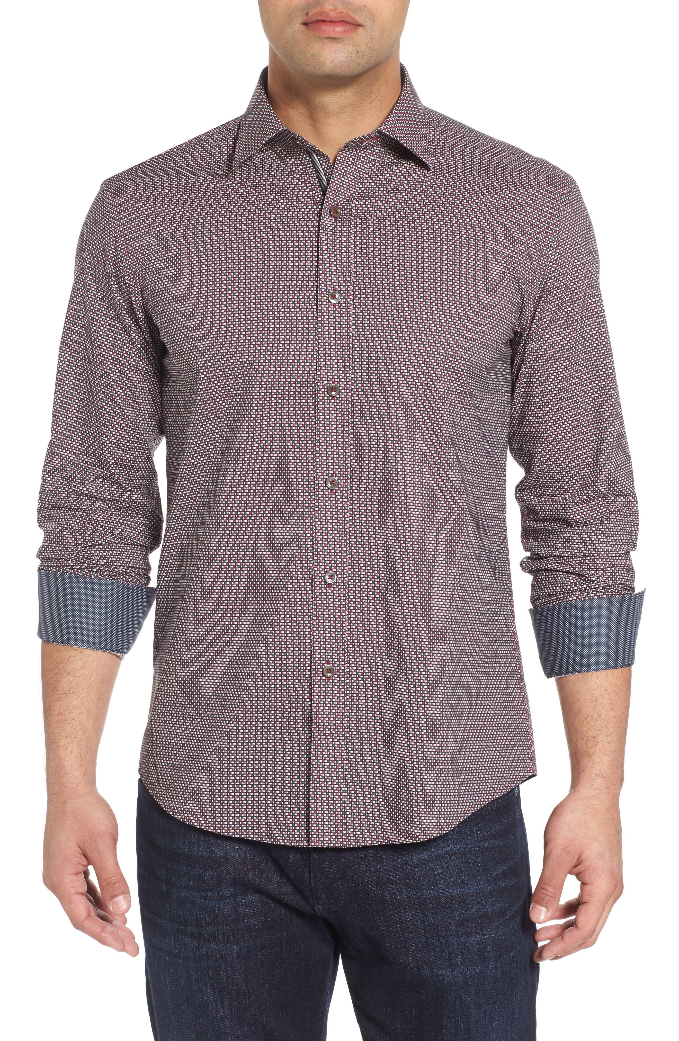 Trim Fit Print Sport Shirt,                         Main,                         color, Wine