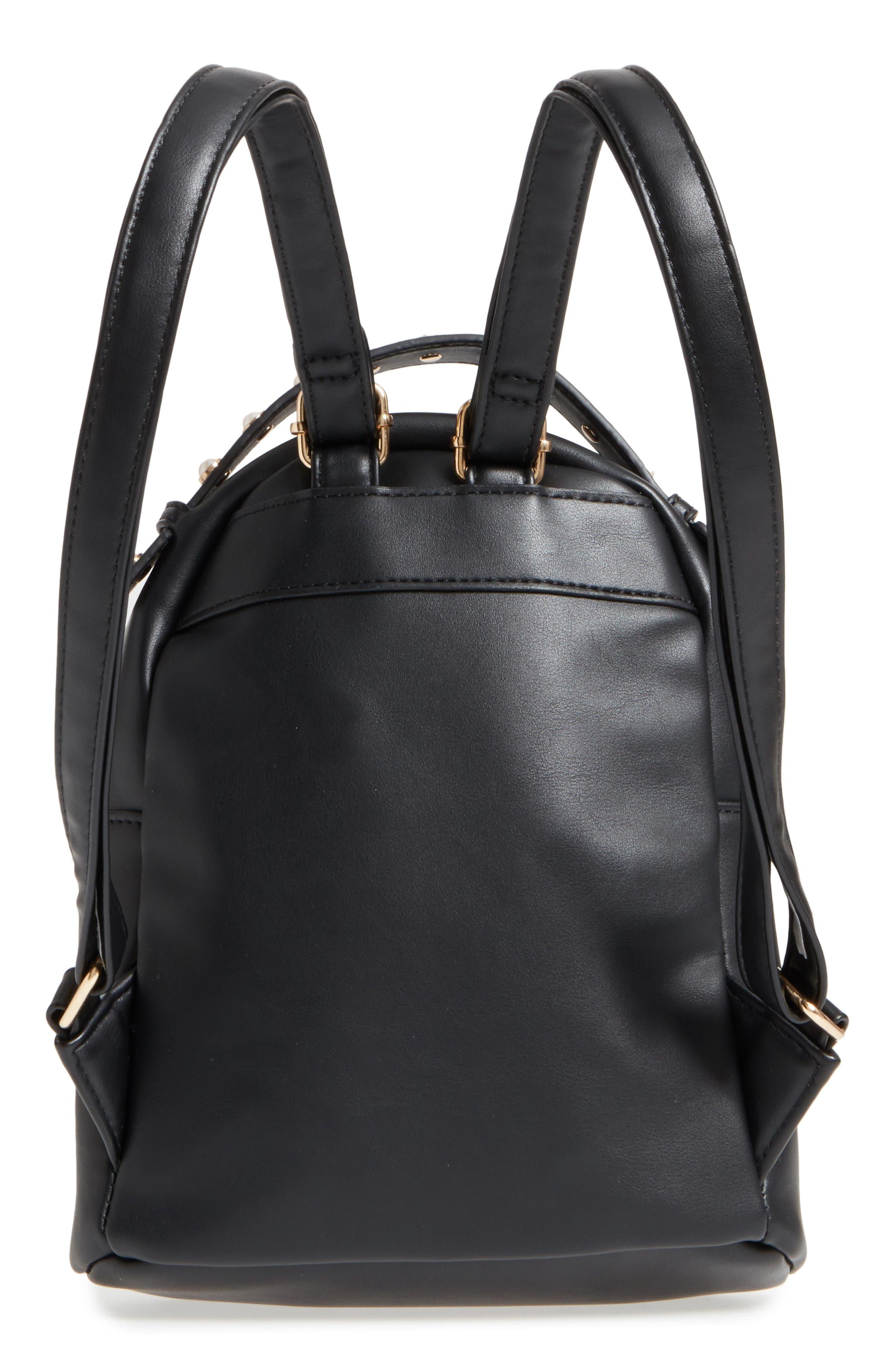 Imitation Pearl Handle Bow Mini Backpack,                             Alternate thumbnail 3, color,                             Black