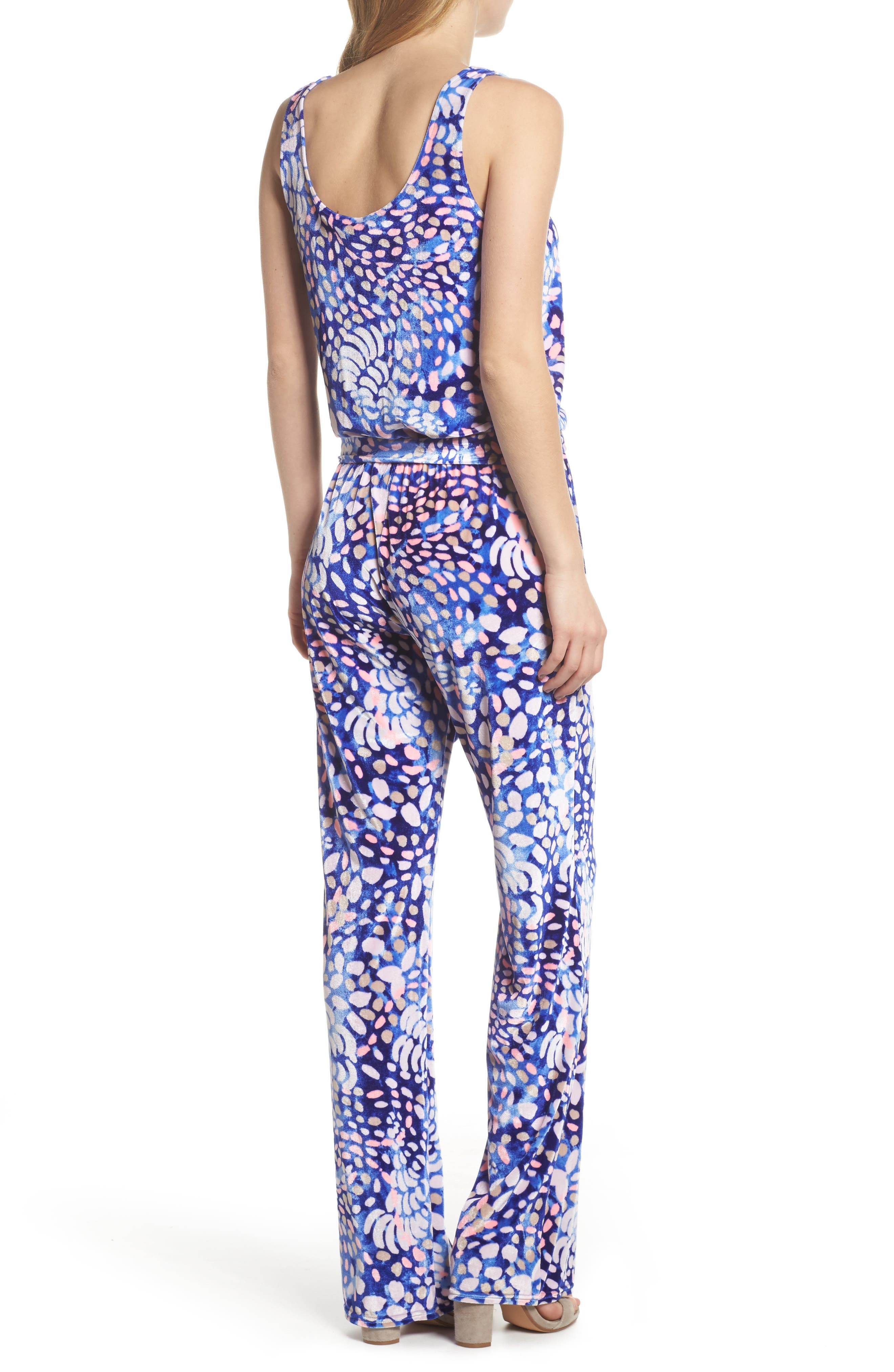 Nena Velour Jumpsuit,                             Alternate thumbnail 2, color,                             Beckon Blue Sparkling Grotto