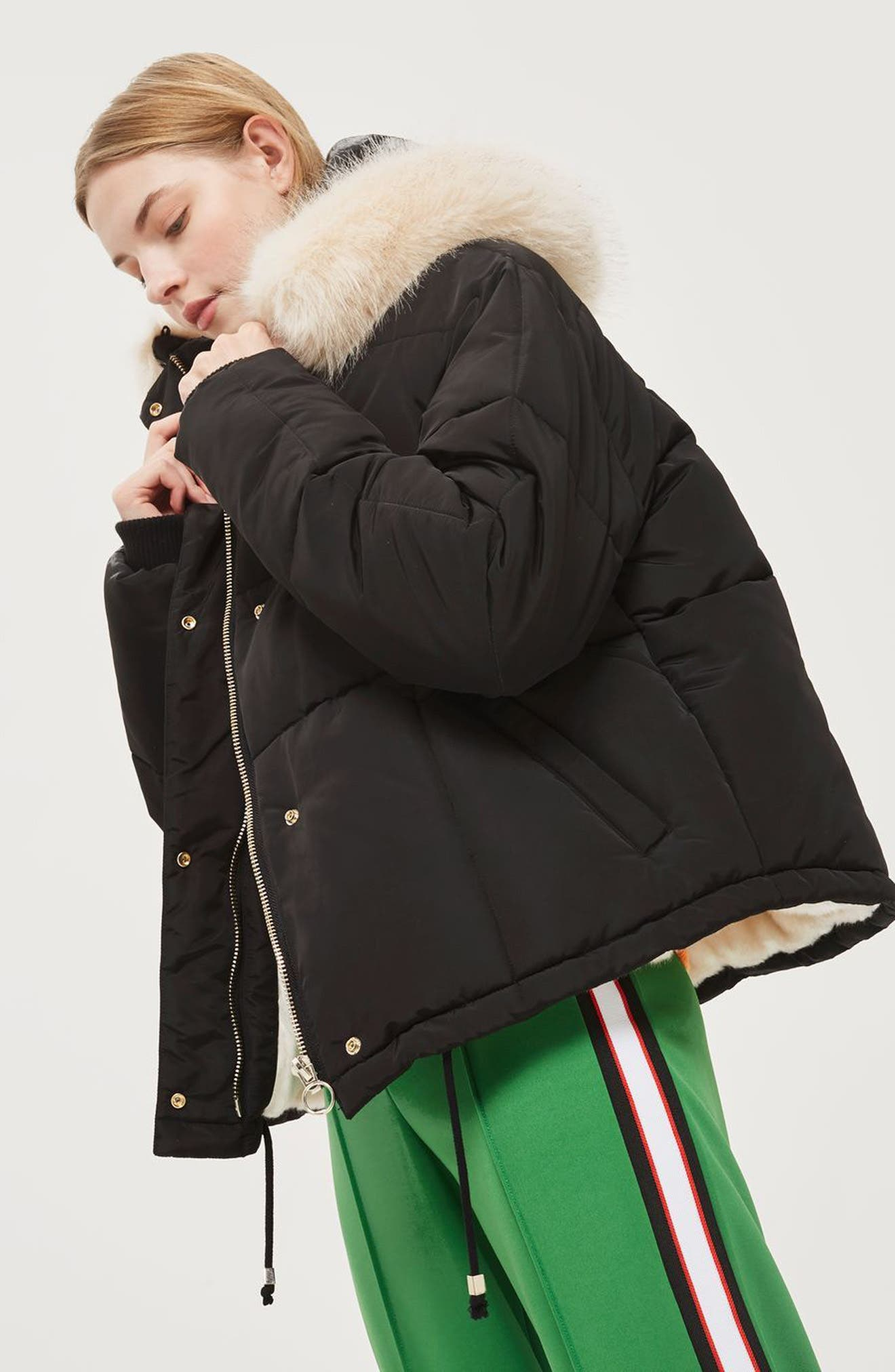 Faux Fur Lined Puffer Jacket,                             Alternate thumbnail 3, color,                             Black Multi